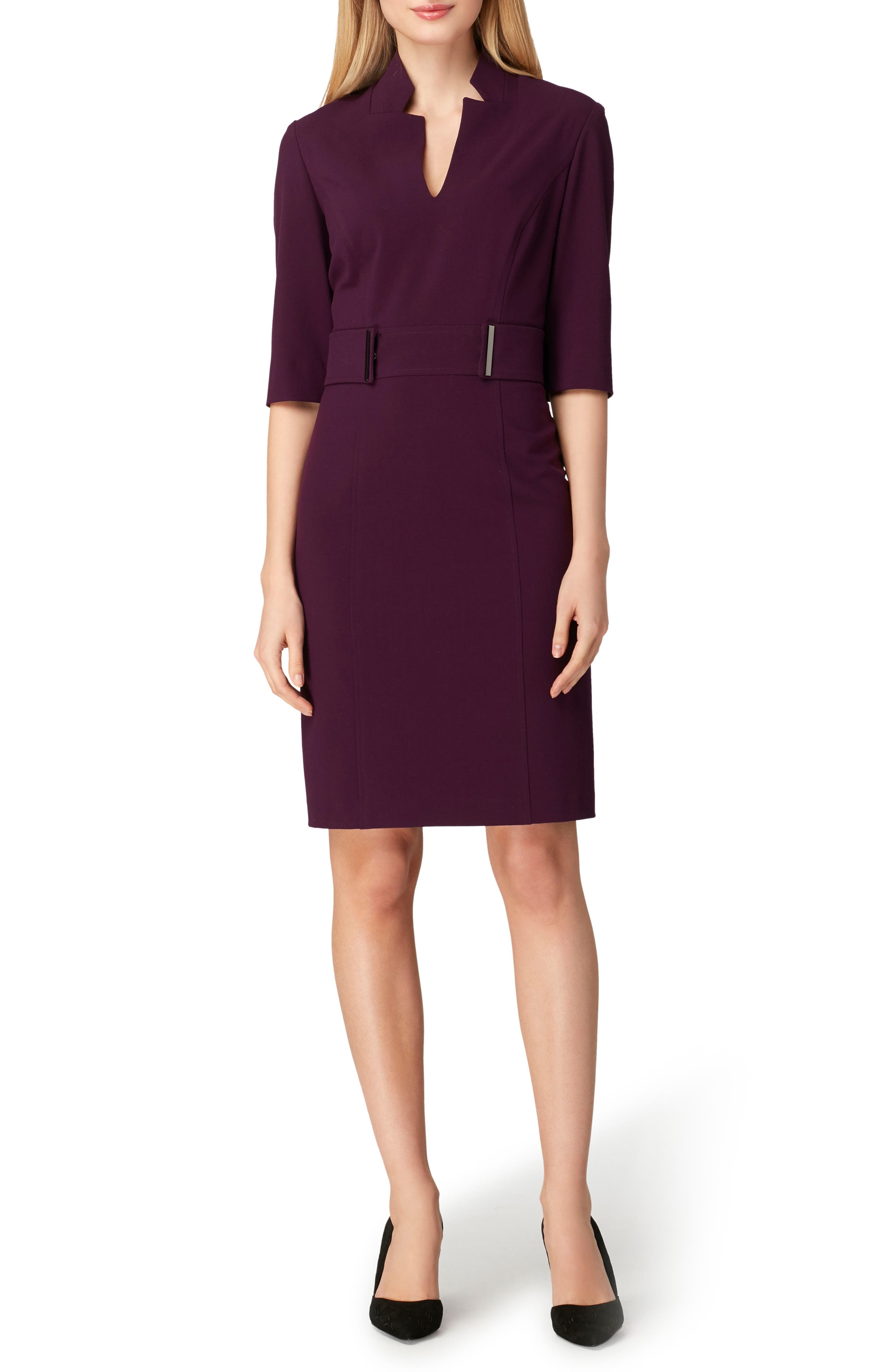 Stretch Belted Sheath Dress,                             Main thumbnail 1, color,                             RUM RAISIN