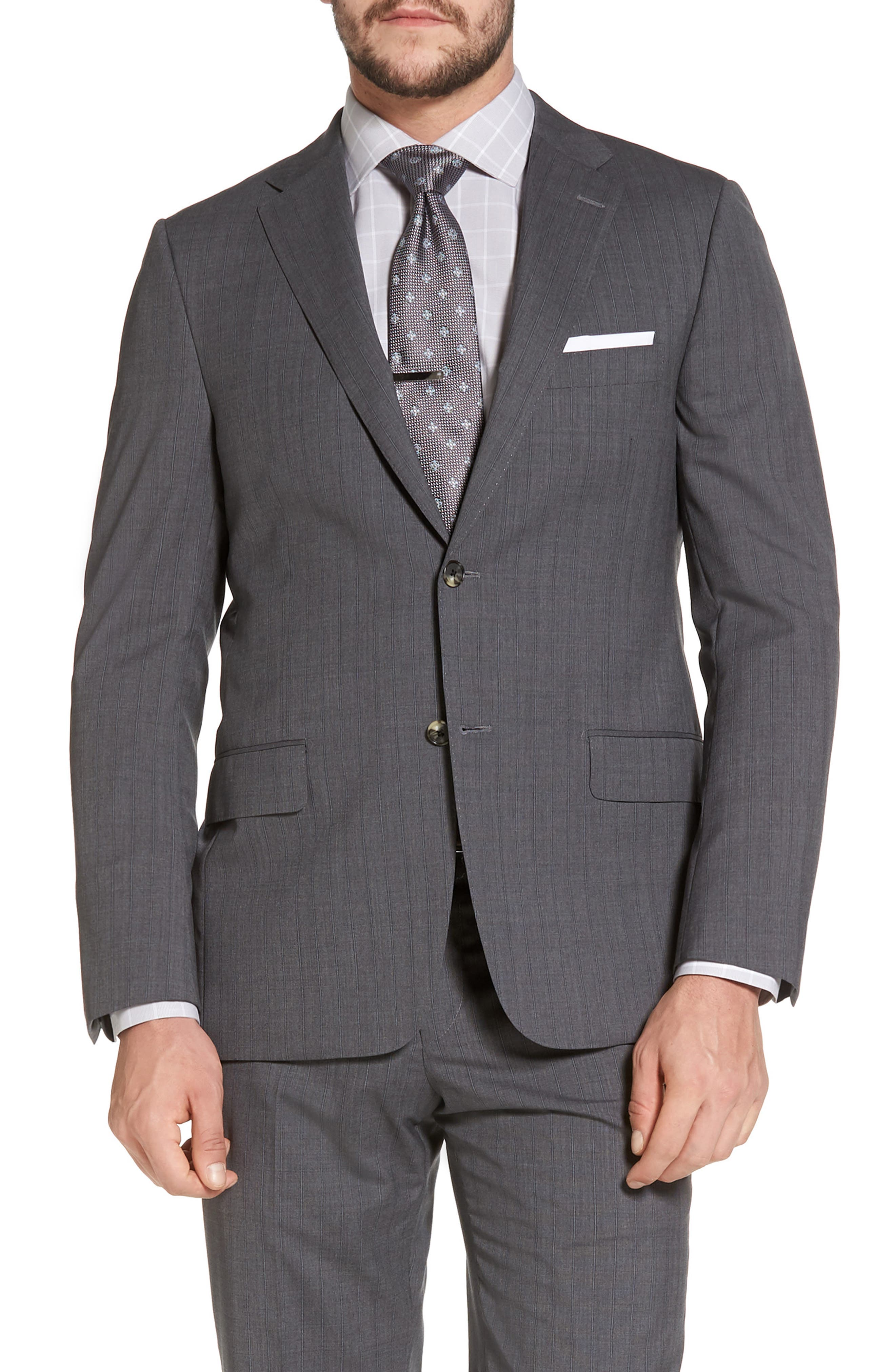 Classic B Fit Stripe Wool Suit,                             Alternate thumbnail 5, color,