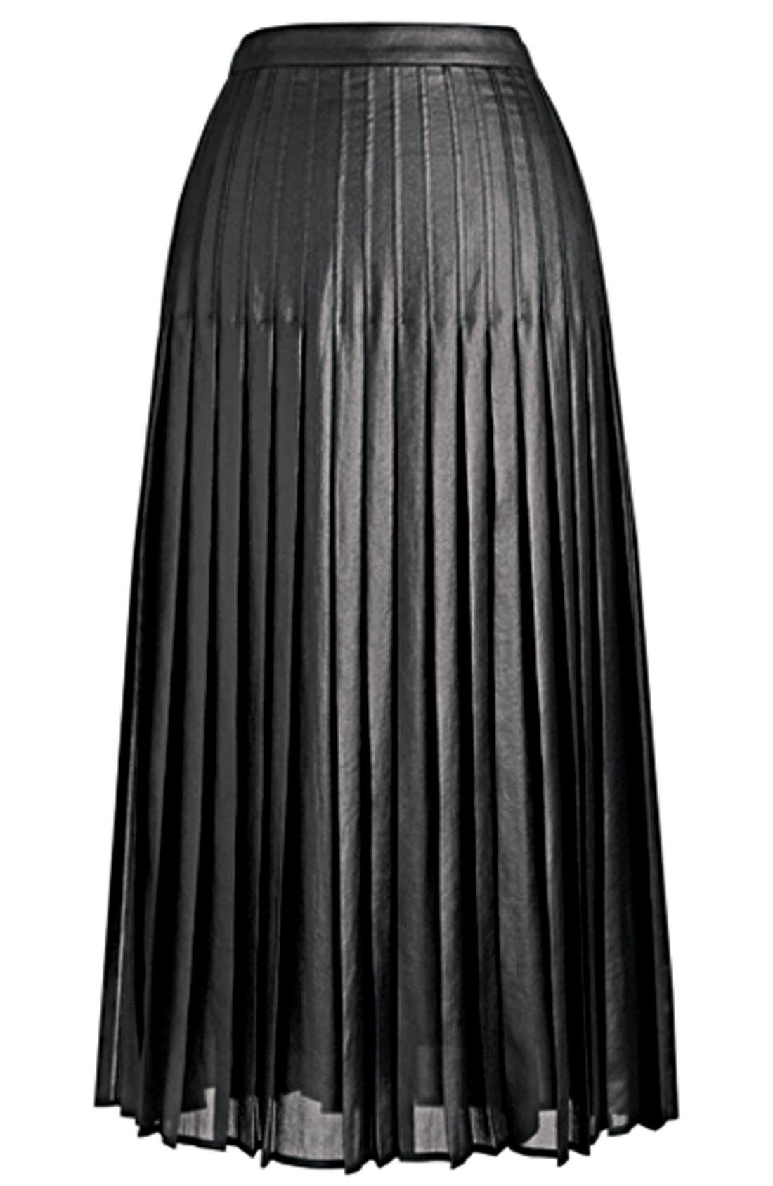 Pleat Midi Skirt,                             Alternate thumbnail 7, color,                             001