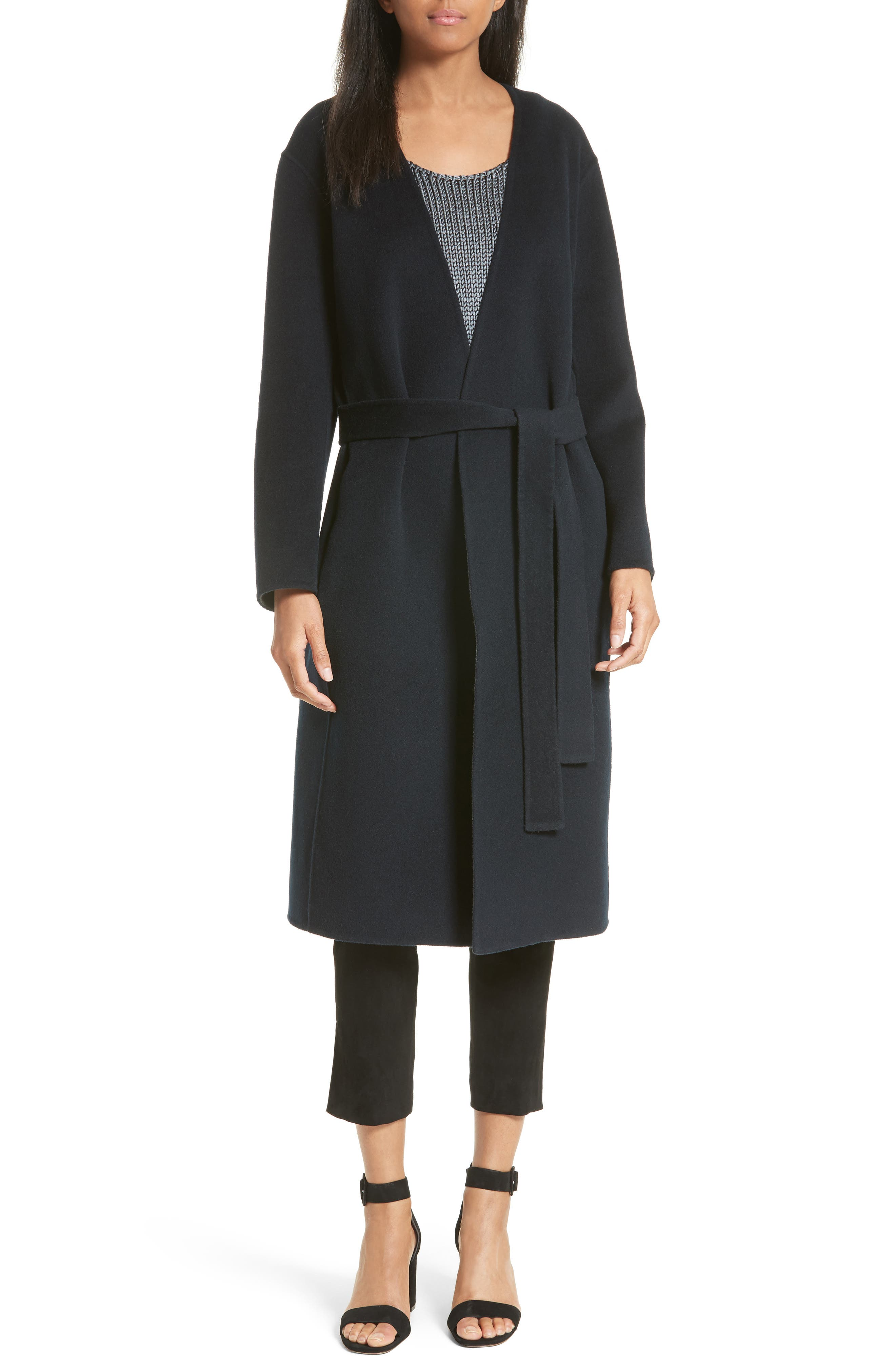 Reversible Wool & Cashmere Belted Coat,                             Alternate thumbnail 7, color,                             464