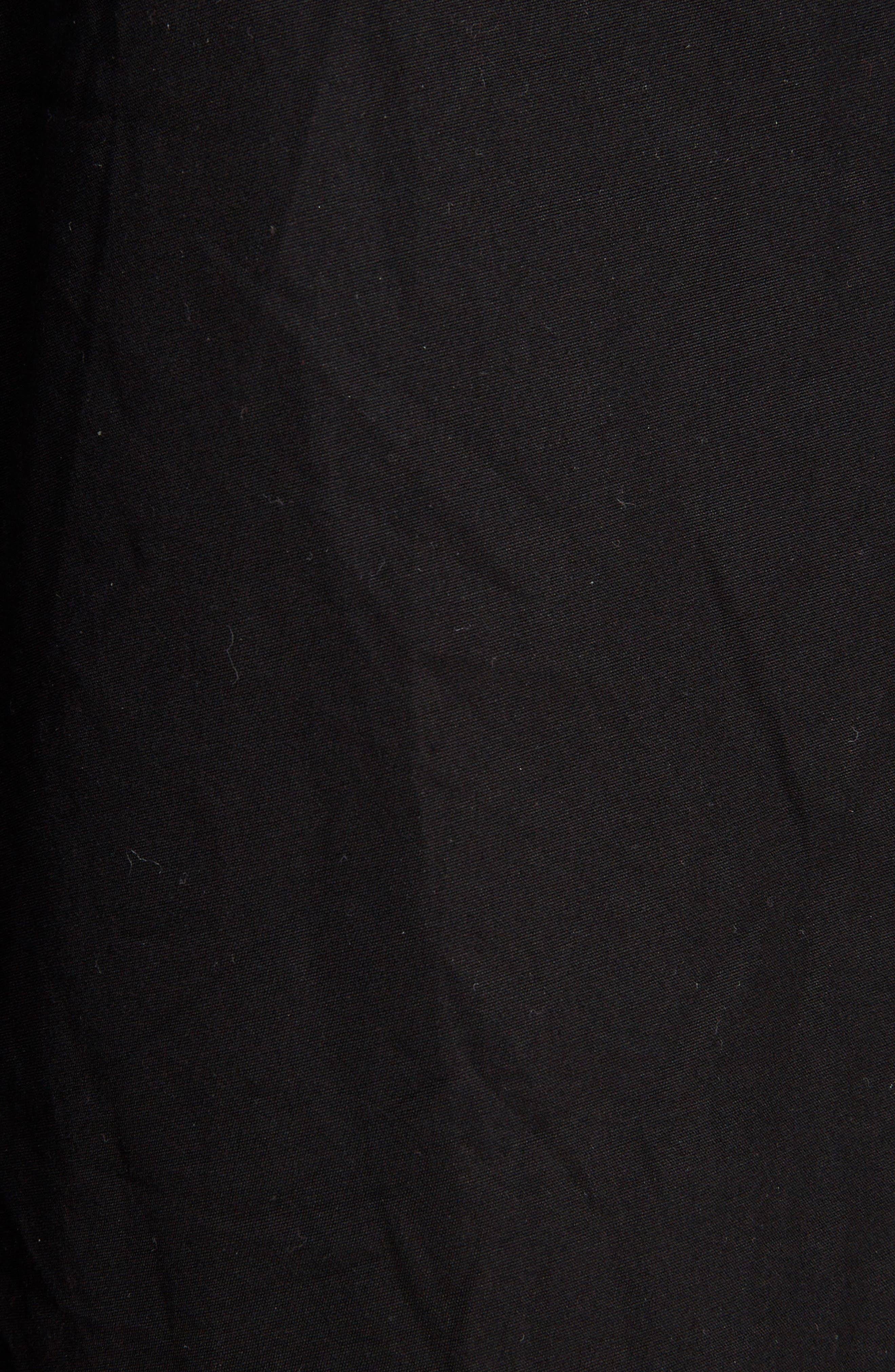Side Slit Belted Poplin Pants,                             Alternate thumbnail 5, color,                             BLACK