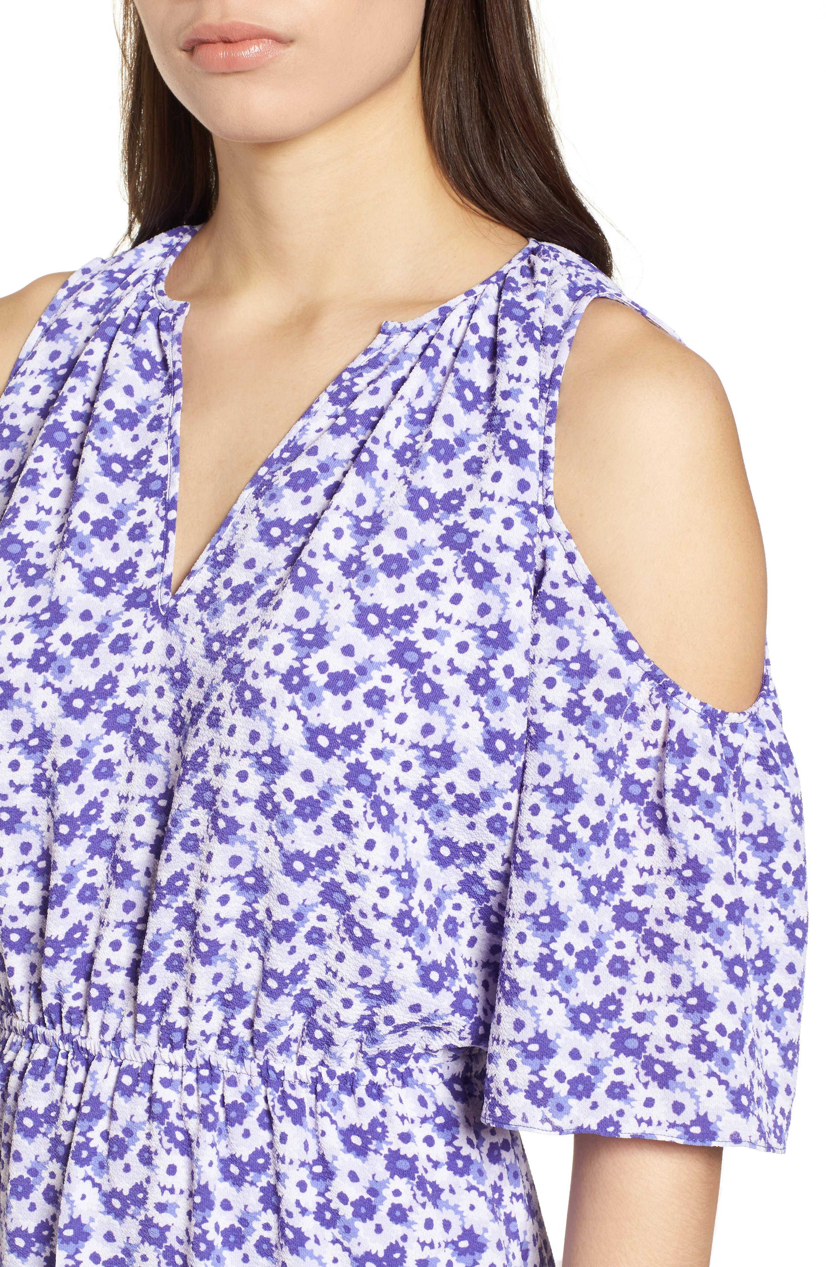 Ruffle Cold Shoulder Dress,                             Alternate thumbnail 4, color,                             580