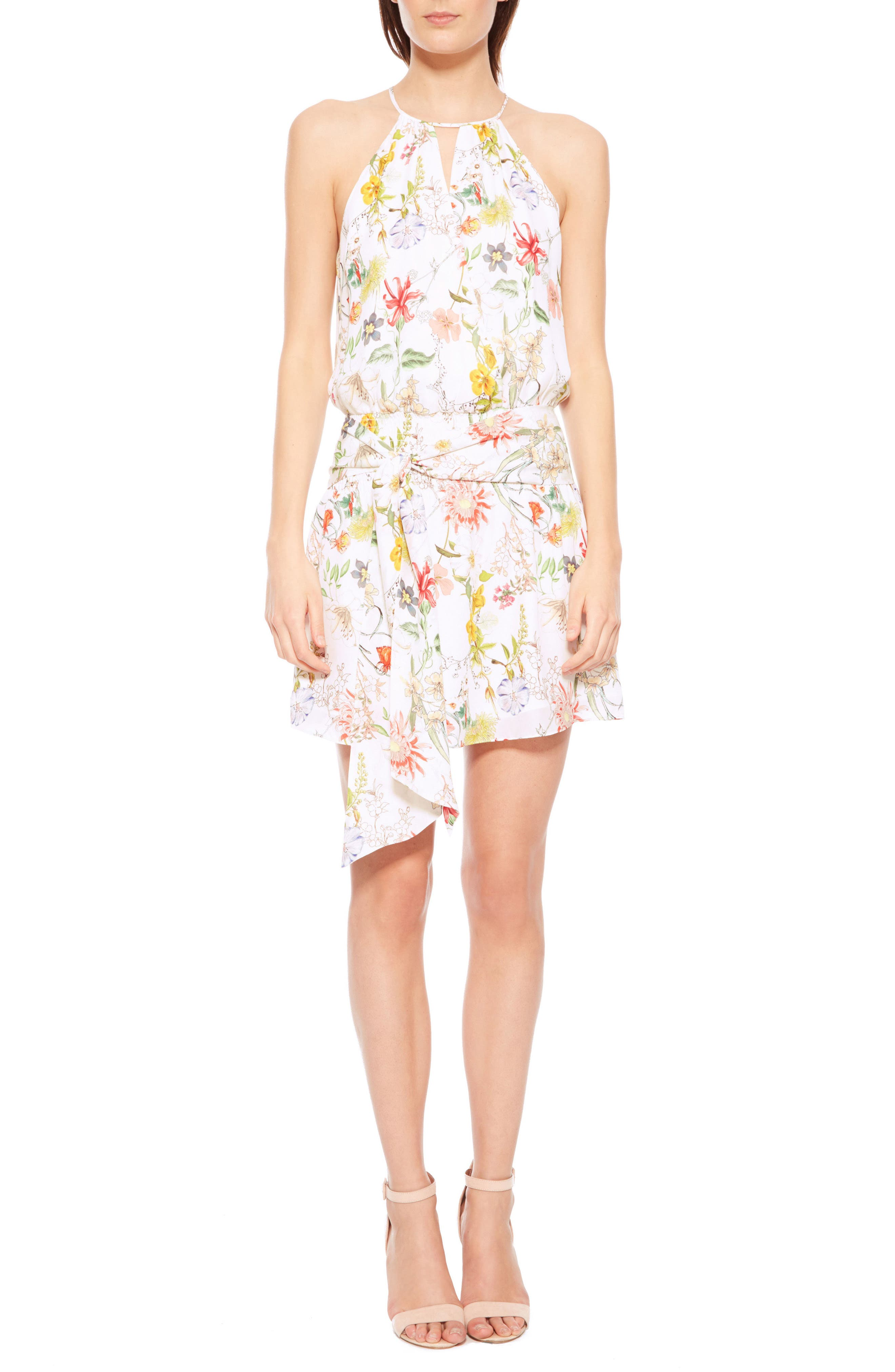 Larissa Floral Silk Dress,                             Main thumbnail 1, color,                             908