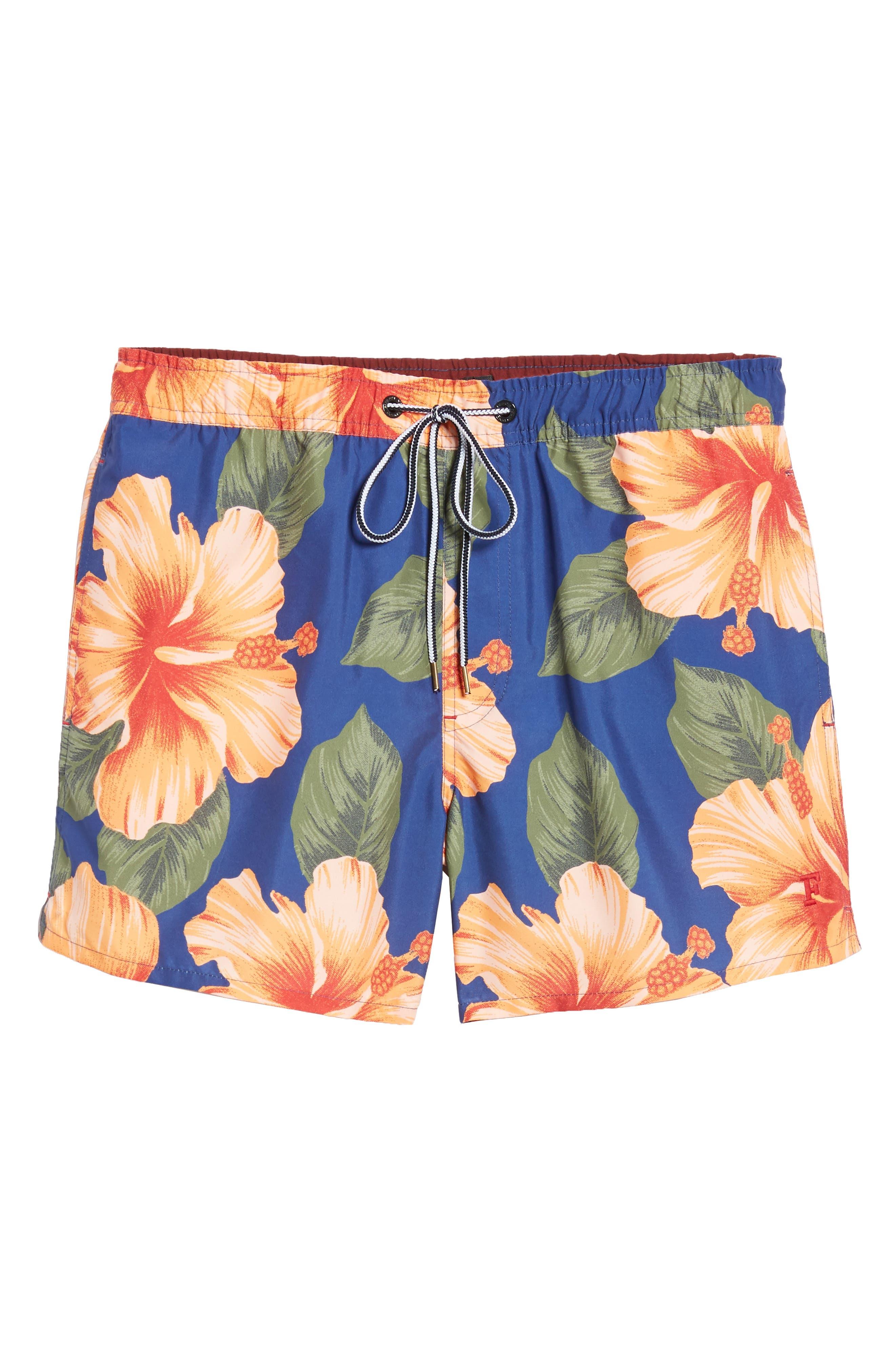 Wela Hawaiian Slim Fit Swim Trunks,                             Alternate thumbnail 6, color,                             DEEP COBALT
