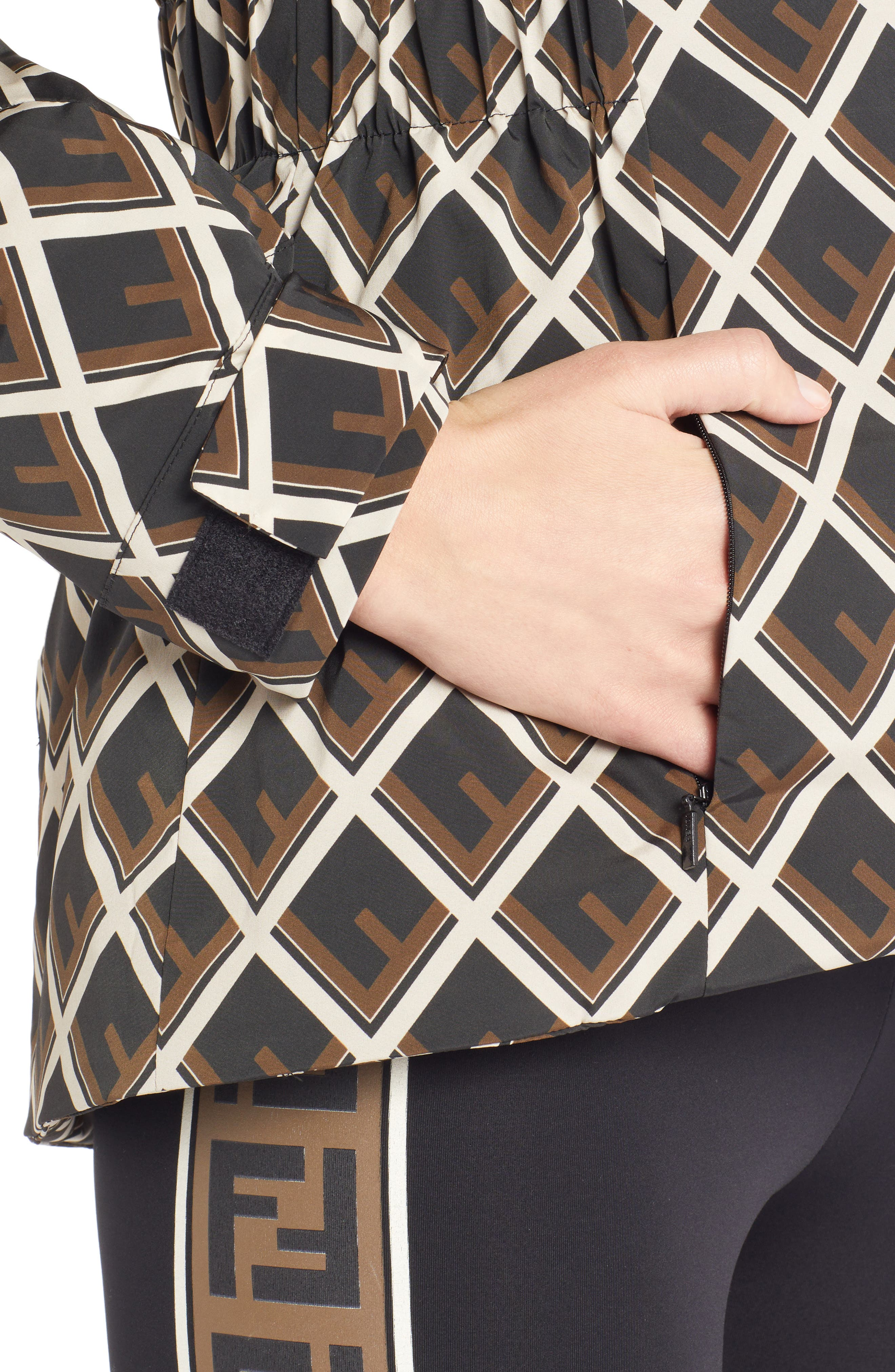 FENDI,                             Deco-F Technical Coat with Genuine Fox Fur Trim,                             Alternate thumbnail 4, color,                             BLACK