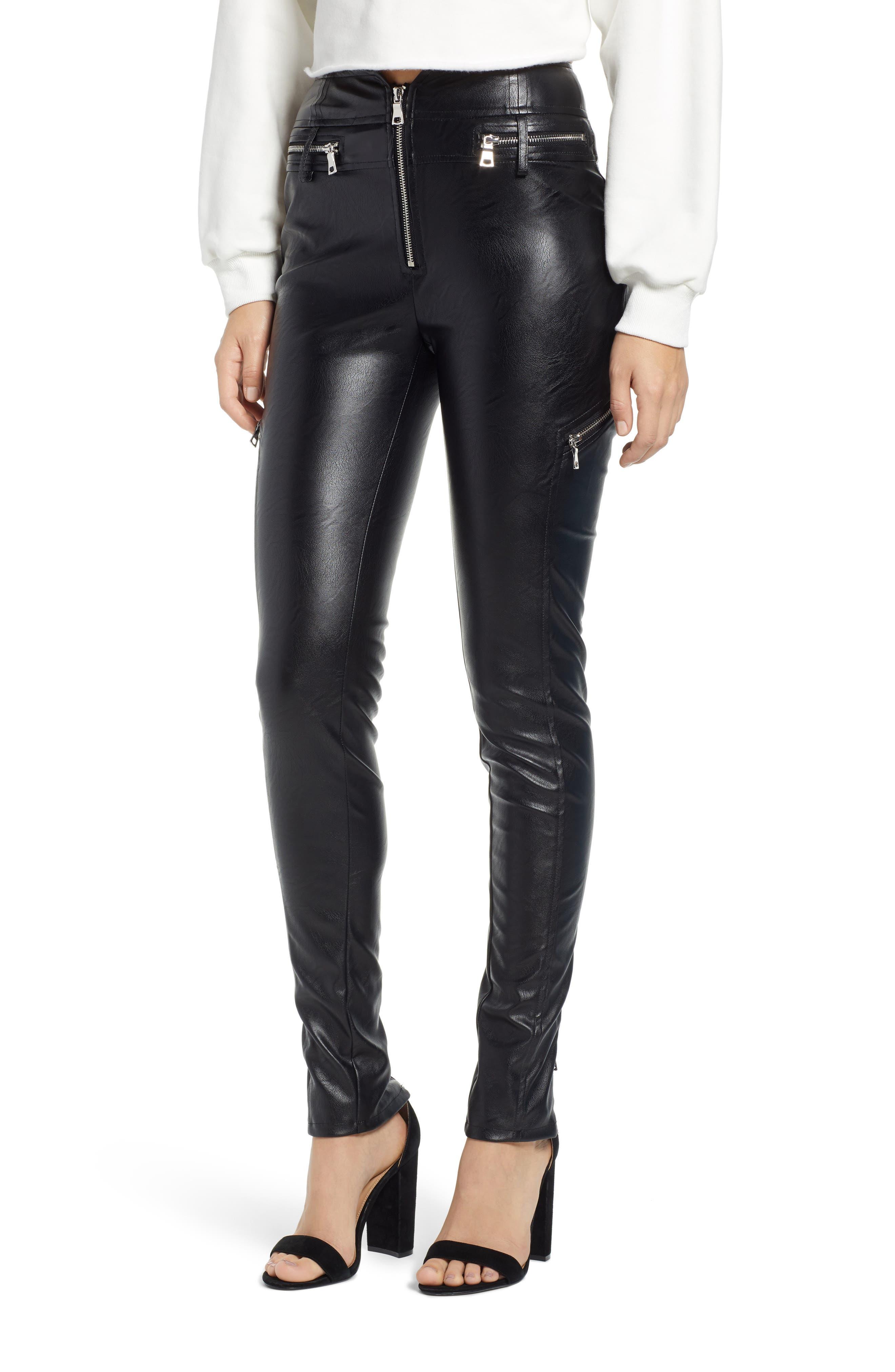TIGER MIST Lennon Zip Detail Faux Leather Pants, Main, color, 001