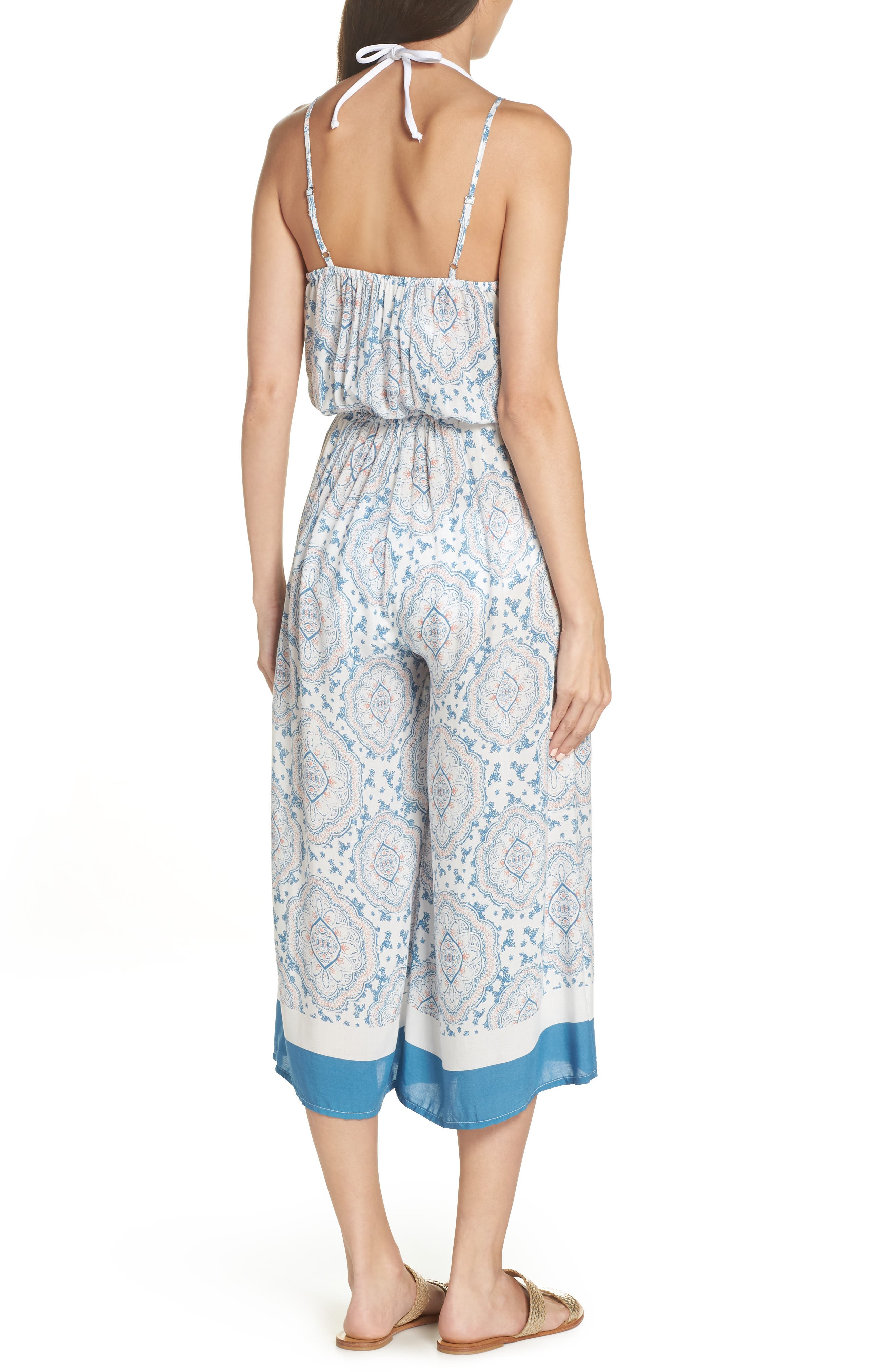 Tie Front Cover-Up Gaucho Jumpsuit,                             Alternate thumbnail 2, color,                             BLUE/ CORAL CANDY