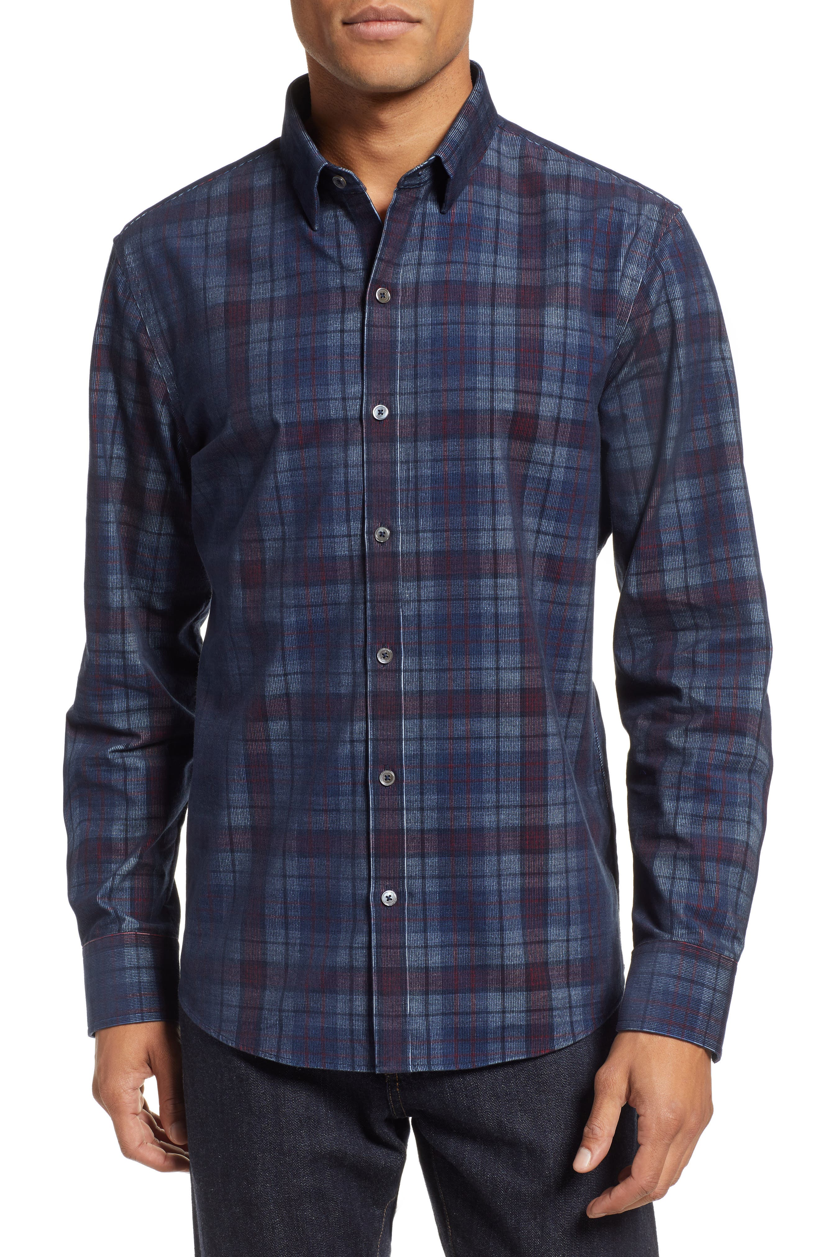 Lemke Regular Fit Corduroy Sport Shirt,                             Main thumbnail 1, color,                             NAVY