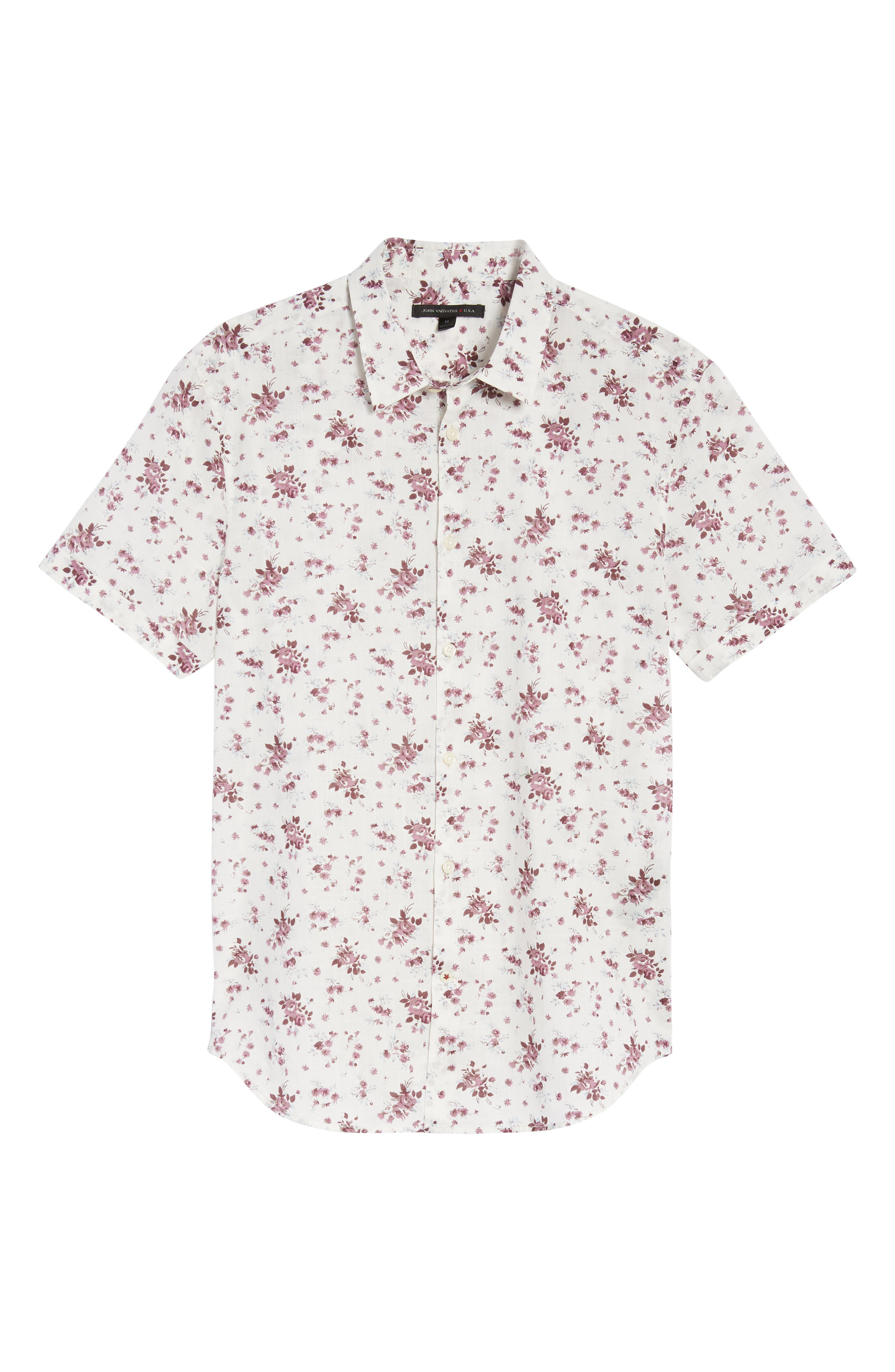 Regular Fit Floral Woven Shirt,                             Alternate thumbnail 6, color,                             ANTIQUE ROSE