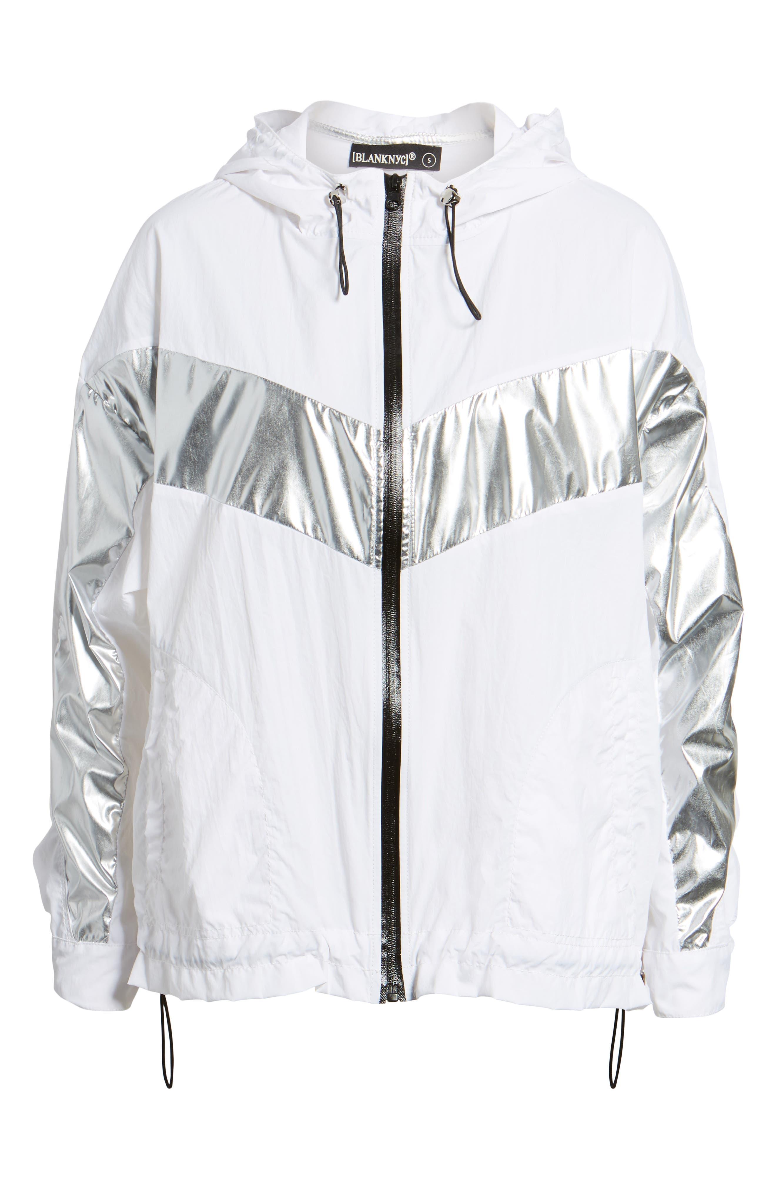 Metallic Stripe Windbreaker Jacket,                             Alternate thumbnail 5, color,