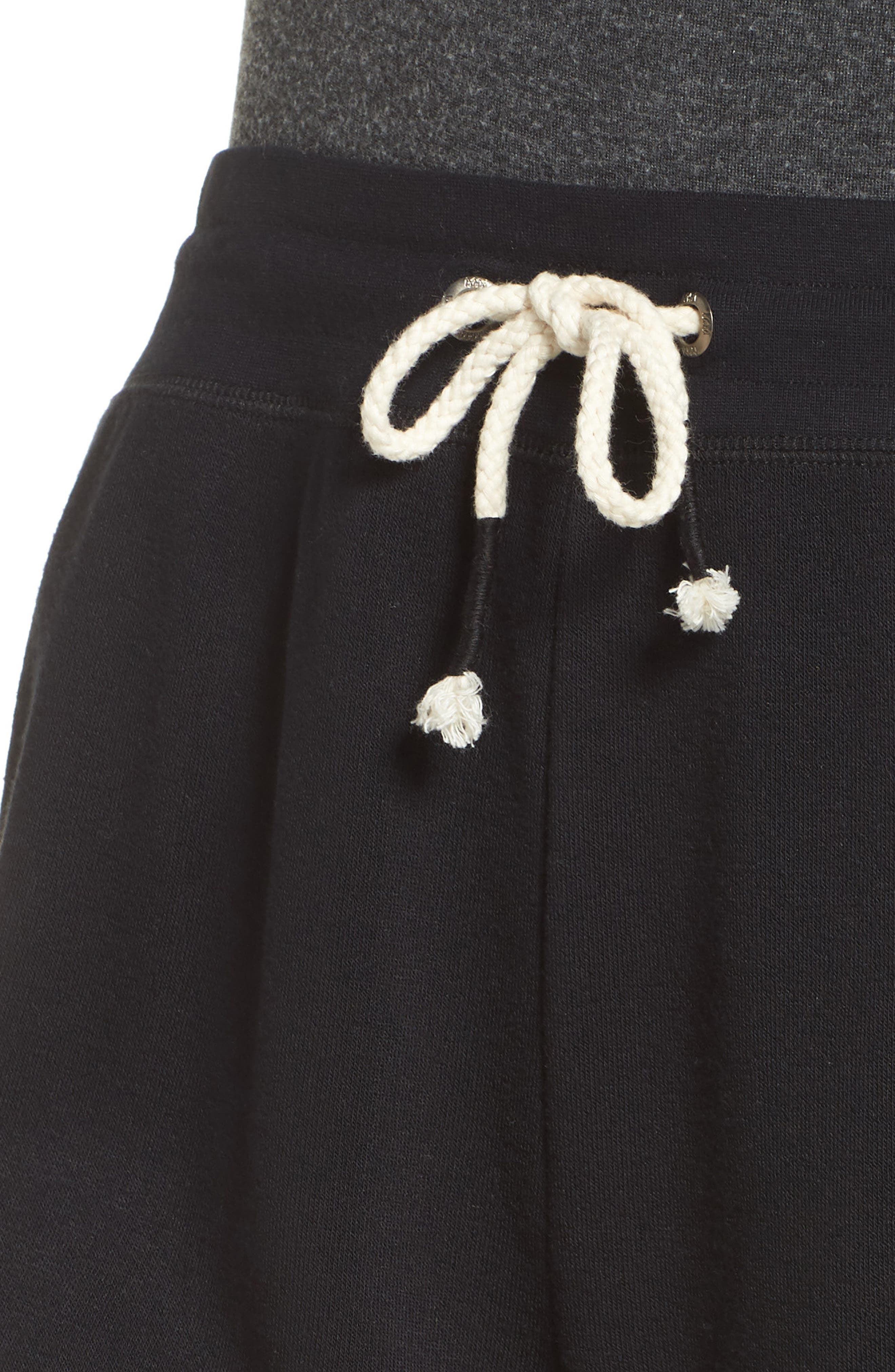 Dreamy High Rise Fleece Shorts,                             Alternate thumbnail 4, color,                             BLACK