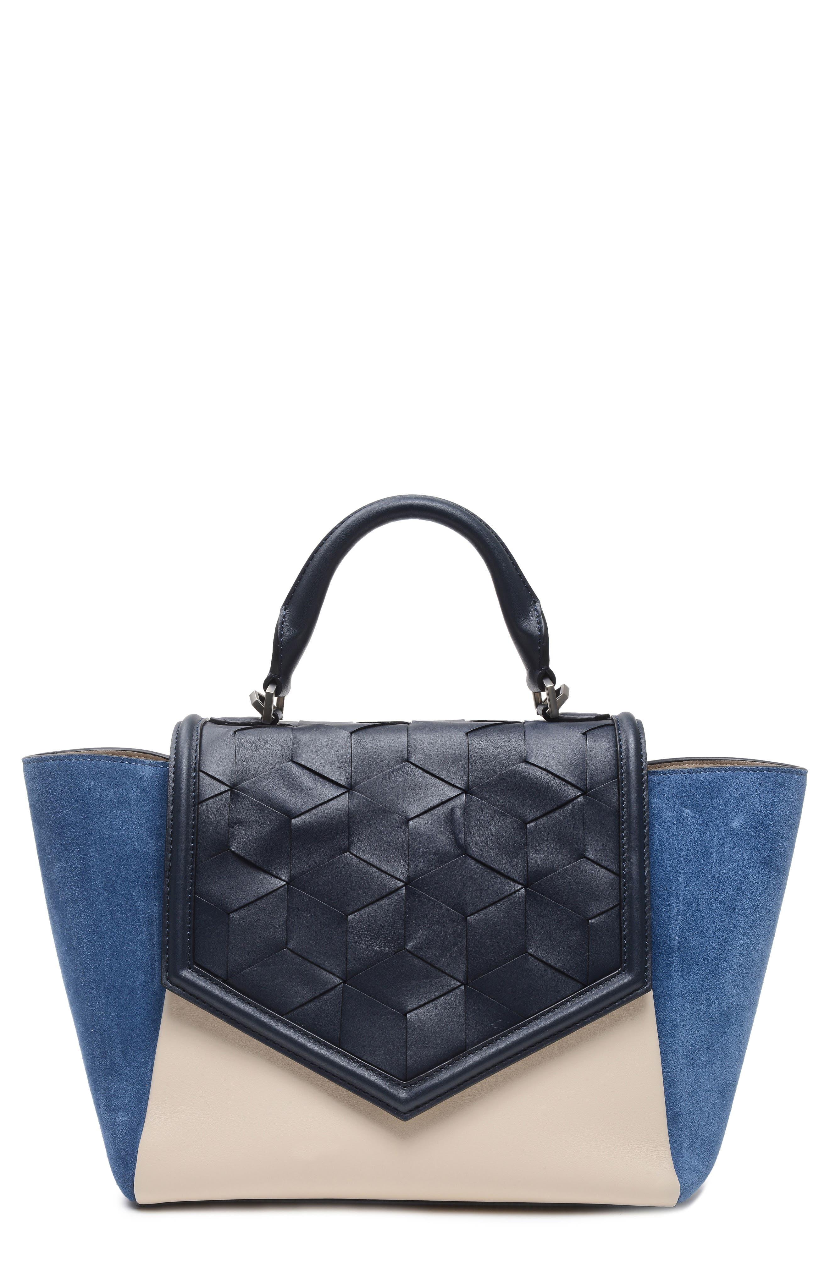 Saunter Calfskin Leather Top Handle Satchel,                         Main,                         color,