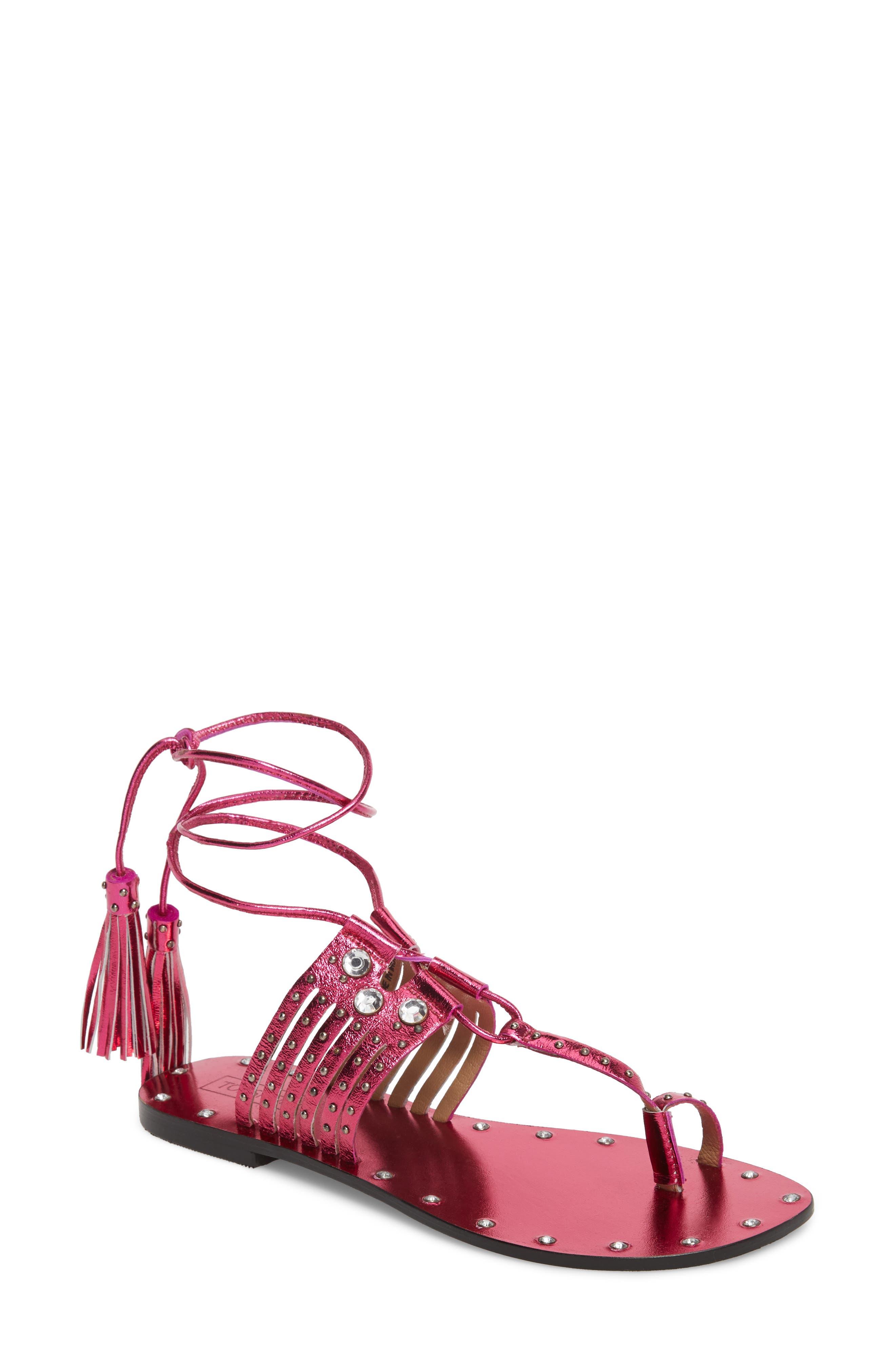Fay Embellished Wraparound Sandal,                             Main thumbnail 3, color,