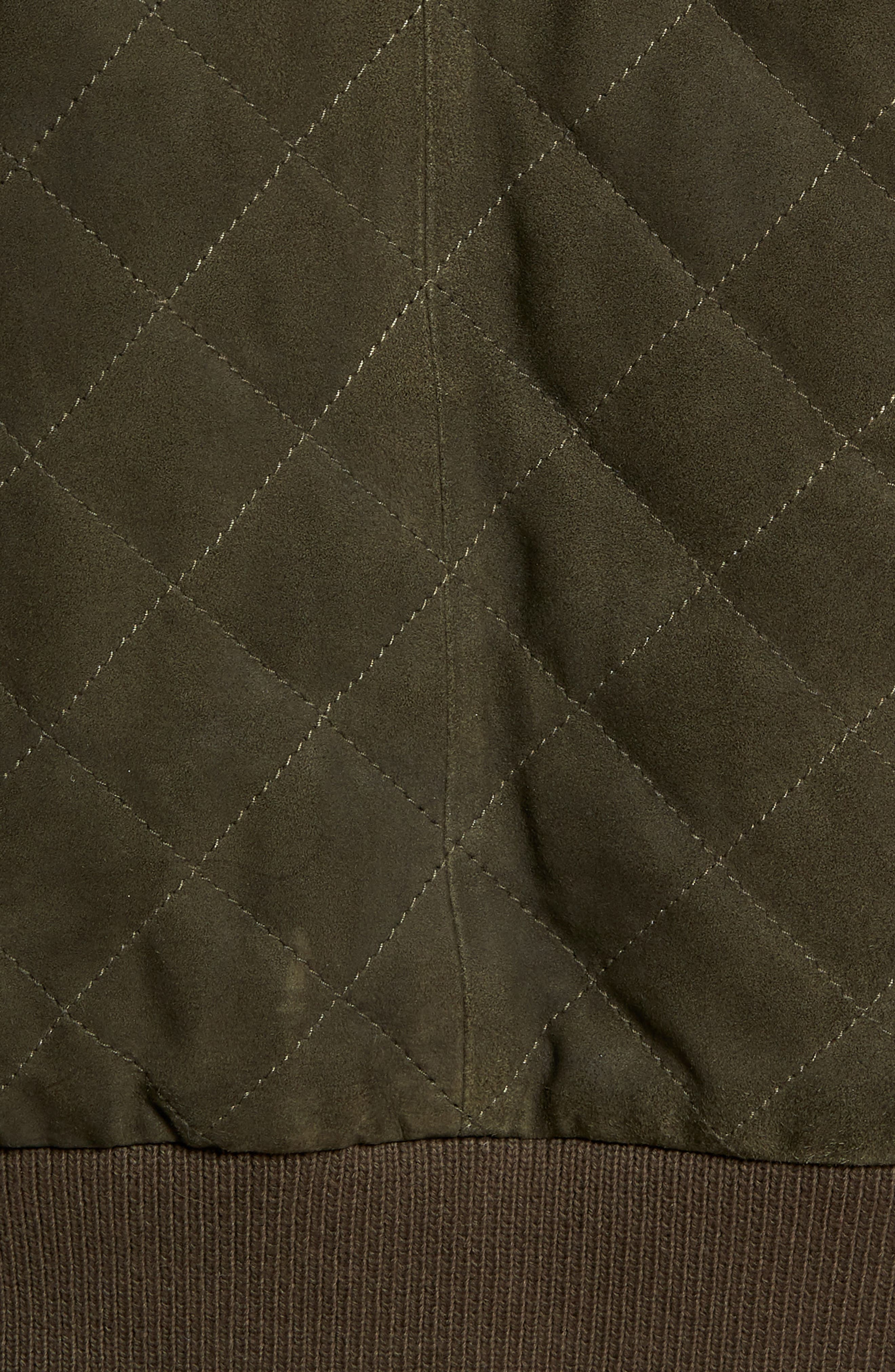 Regular Fit Quilted Suede Jacket,                             Alternate thumbnail 6, color,                             OLIVE