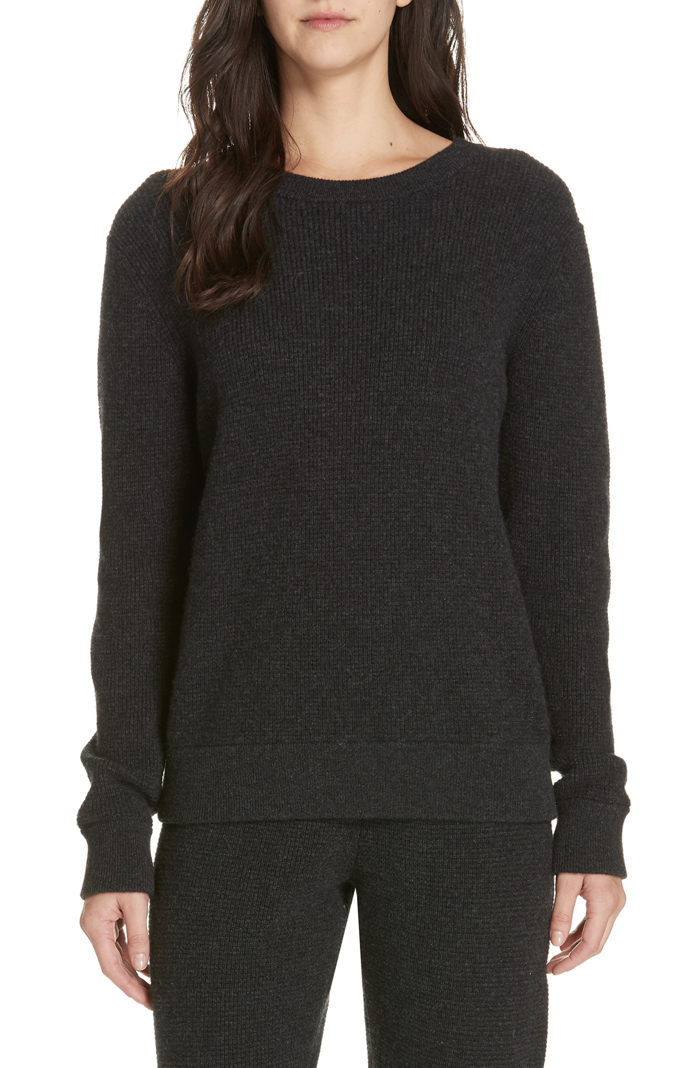 JENNI KAYNE Thermal Cashmere Blend Sweater in Charcoal