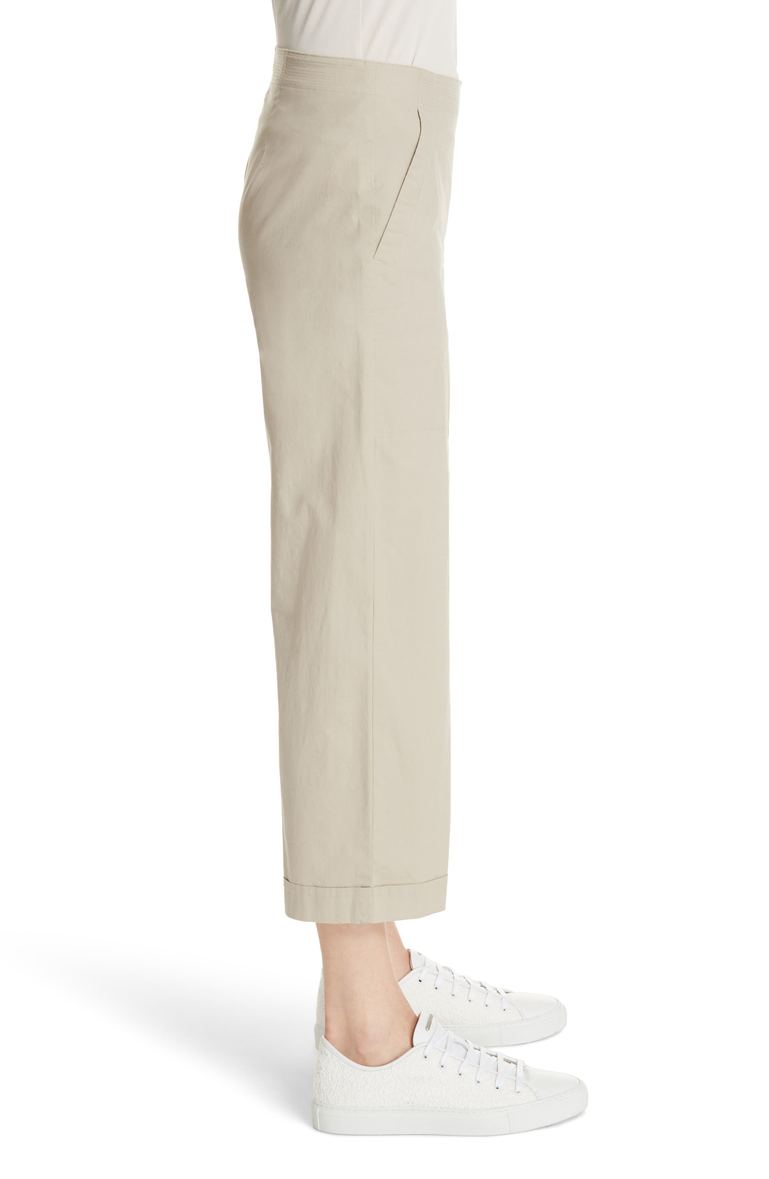 Crop Wide Leg Trouser,                             Alternate thumbnail 3, color,                             KHAKI