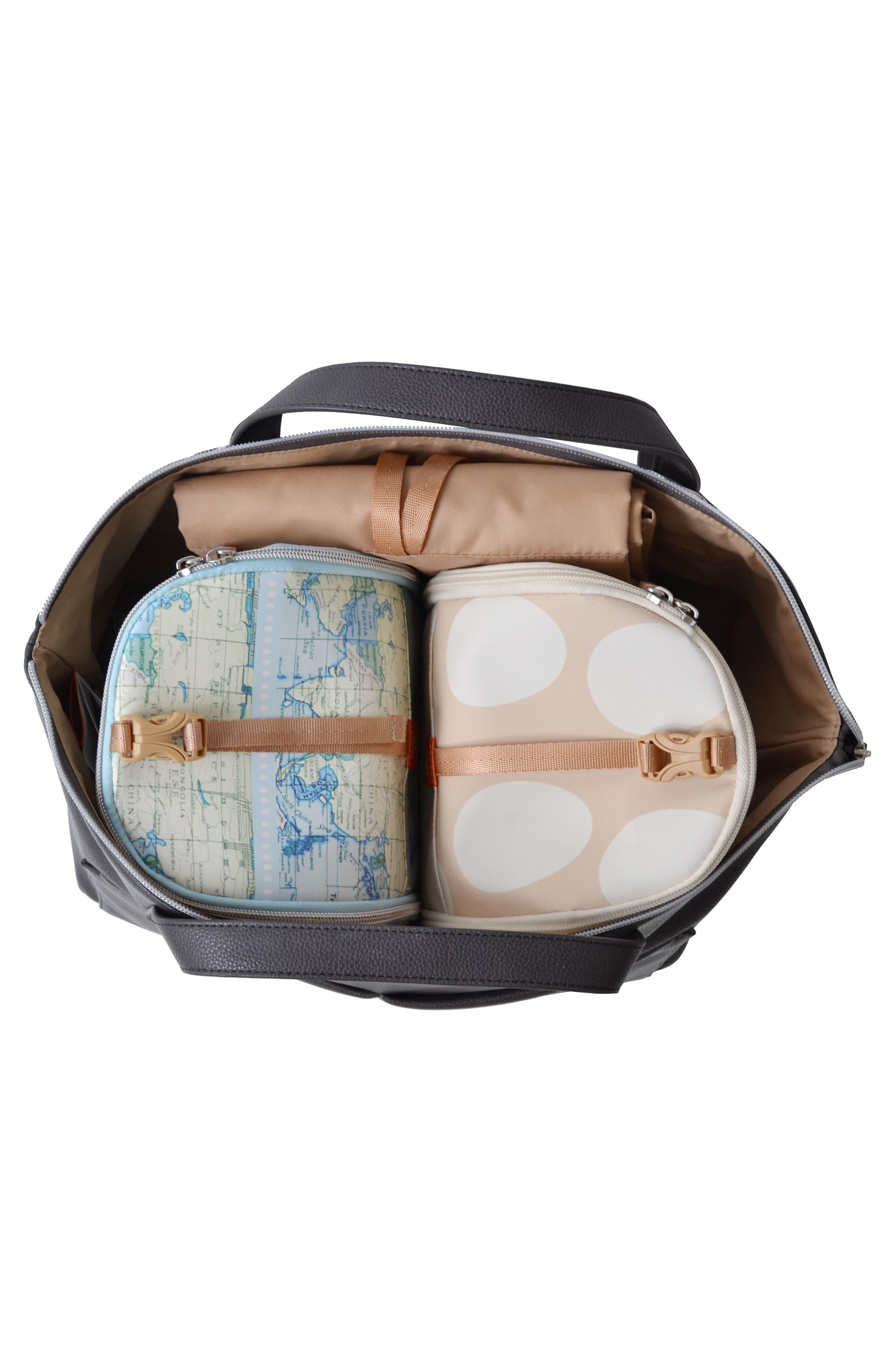Saunton Faux Leather Convertible Diaper Backpack,                             Alternate thumbnail 4, color,                             PEWTER