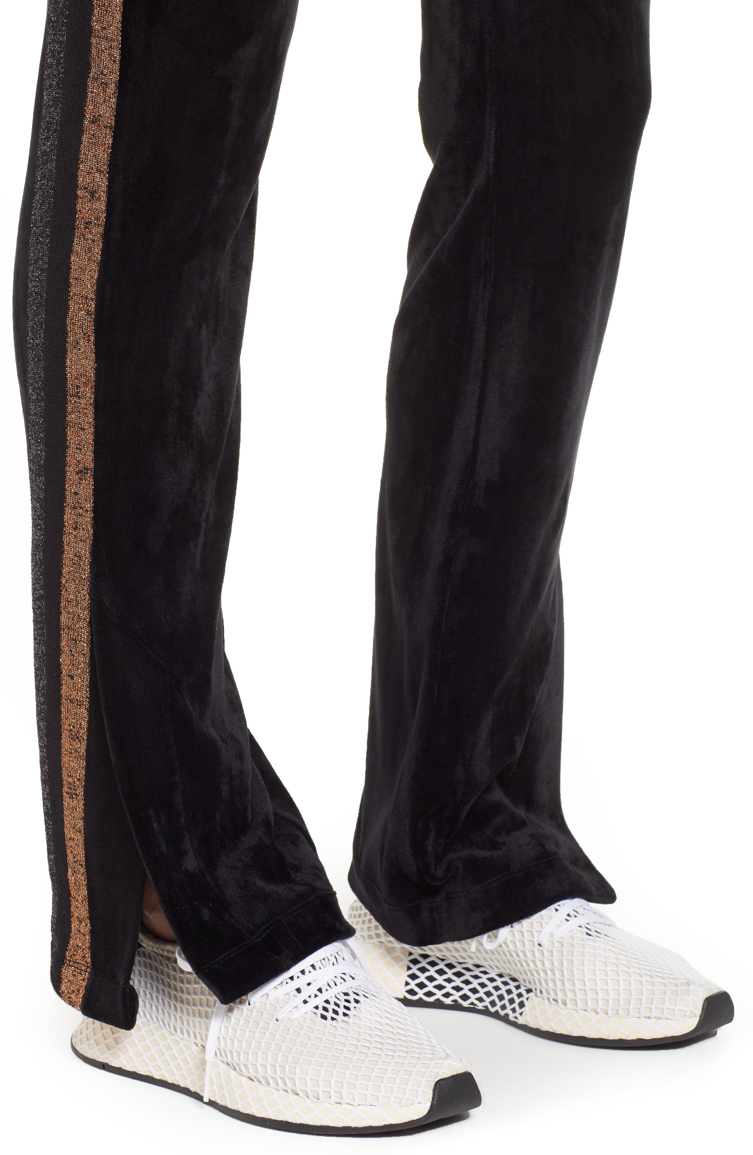Shimmer Stripe Track Pants,                             Alternate thumbnail 4, color,                             001