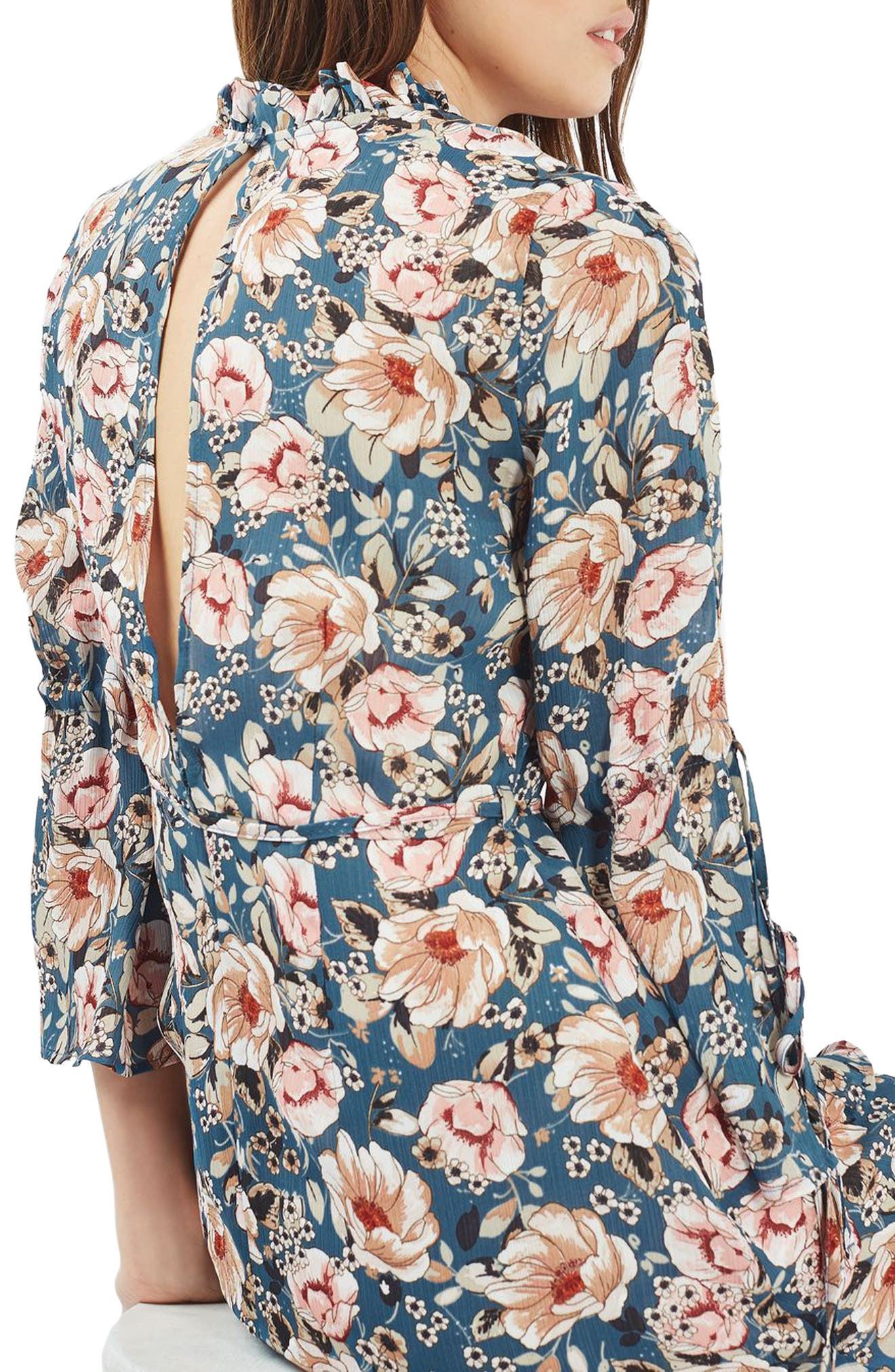 Peony Print Tea Dress,                             Alternate thumbnail 2, color,                             400