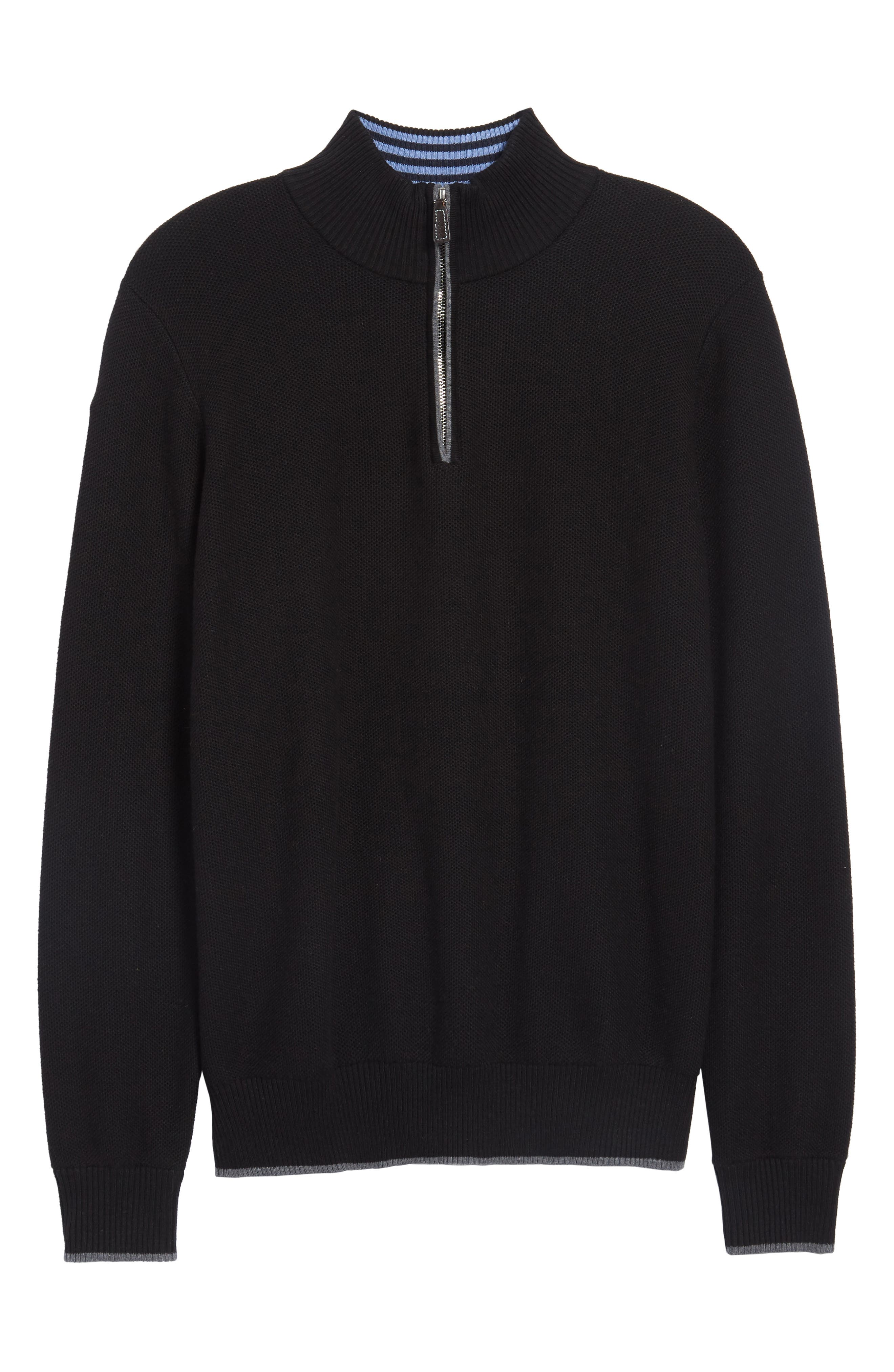 Lafitte Tipped Quarter Zip Sweater,                             Alternate thumbnail 6, color,                             001