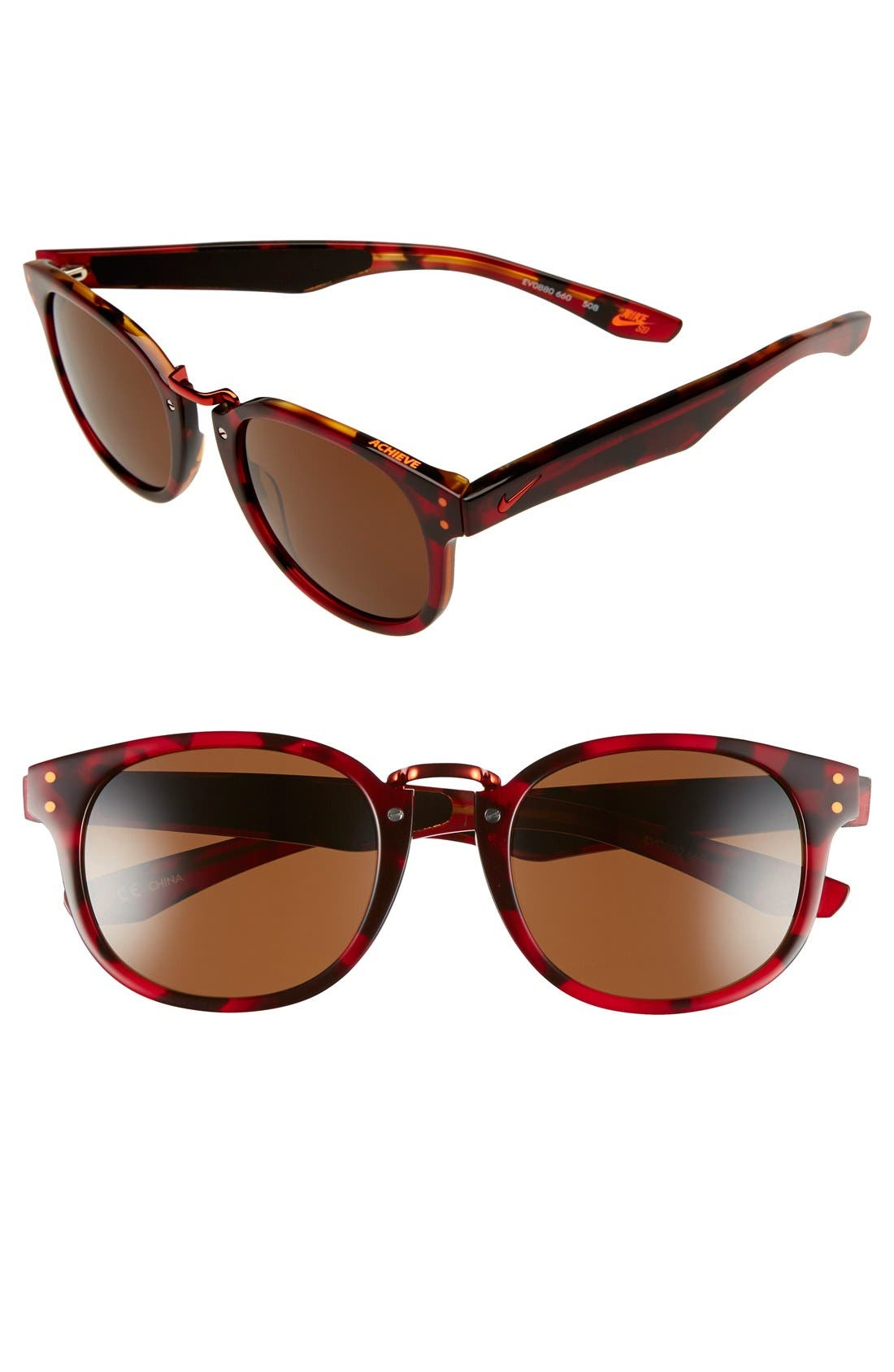 'Achieve' 52mm Sunglasses,                         Main,                         color, RED TORTOISE