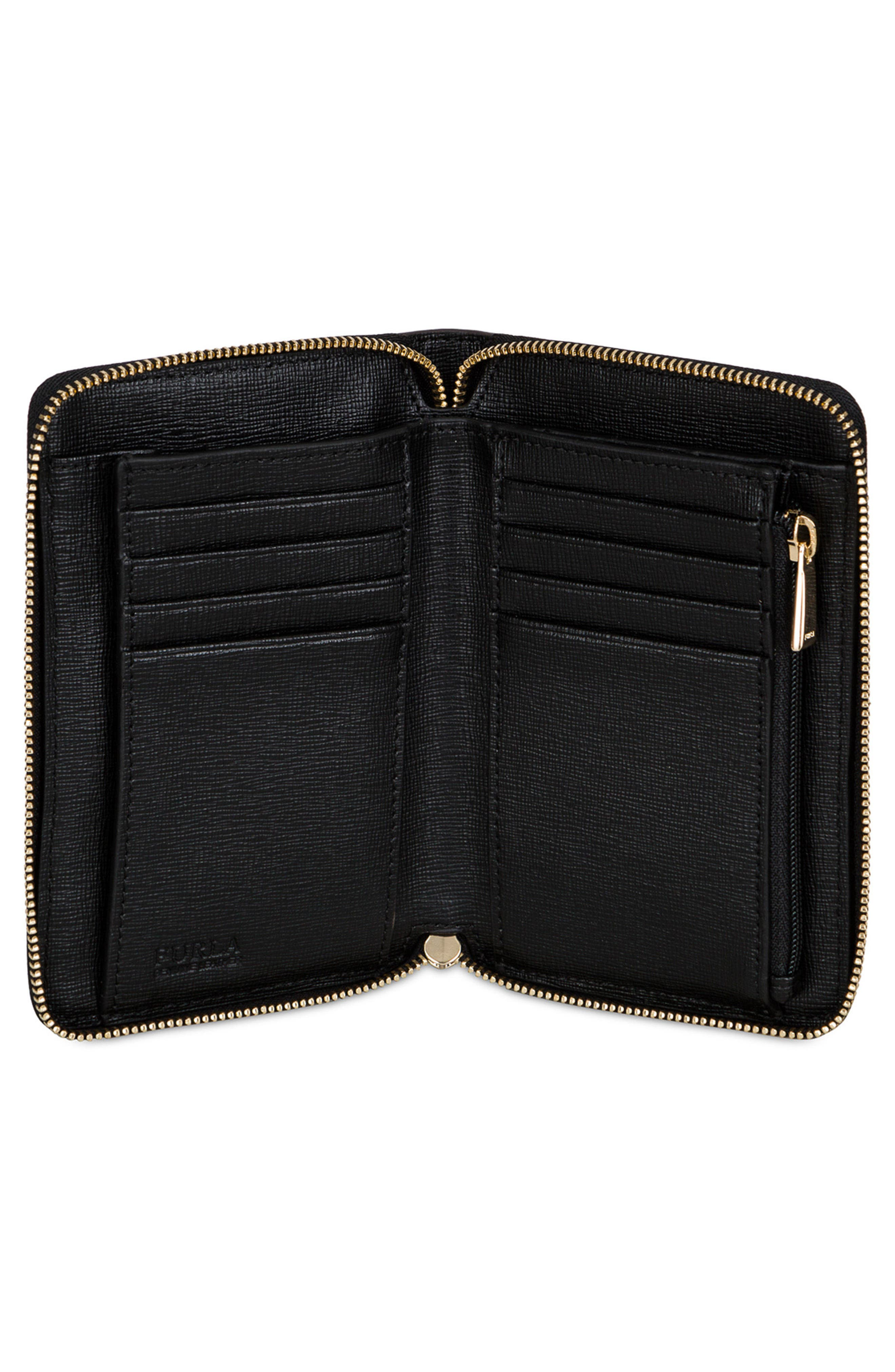 Medium Babylon Saffiano Leather Zip Around Wallet,                             Alternate thumbnail 2, color,                             001