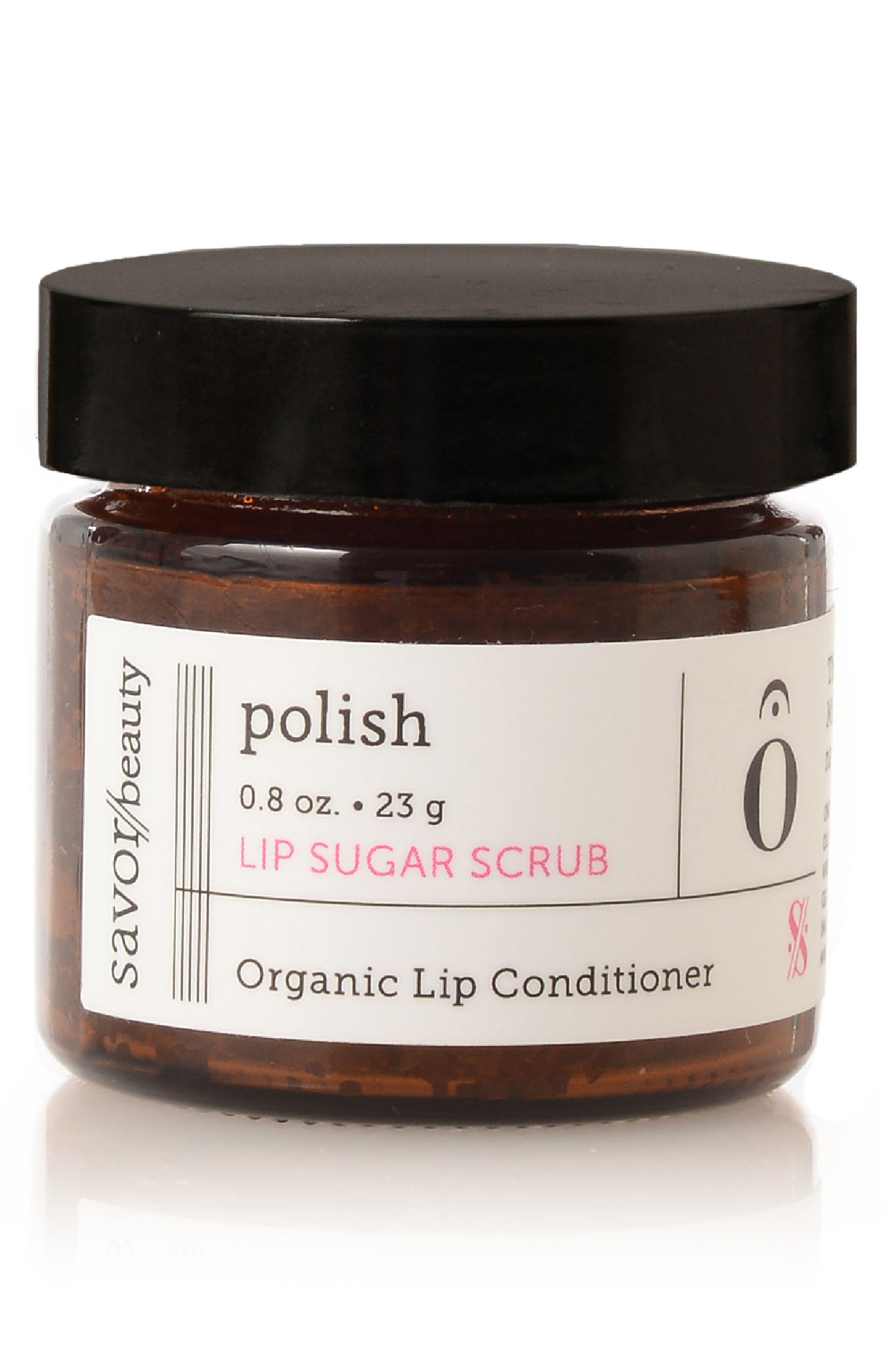 SAVOR BEAUTY,                             Polish Lip Sugar Scrub,                             Main thumbnail 1, color,                             NO COLOR