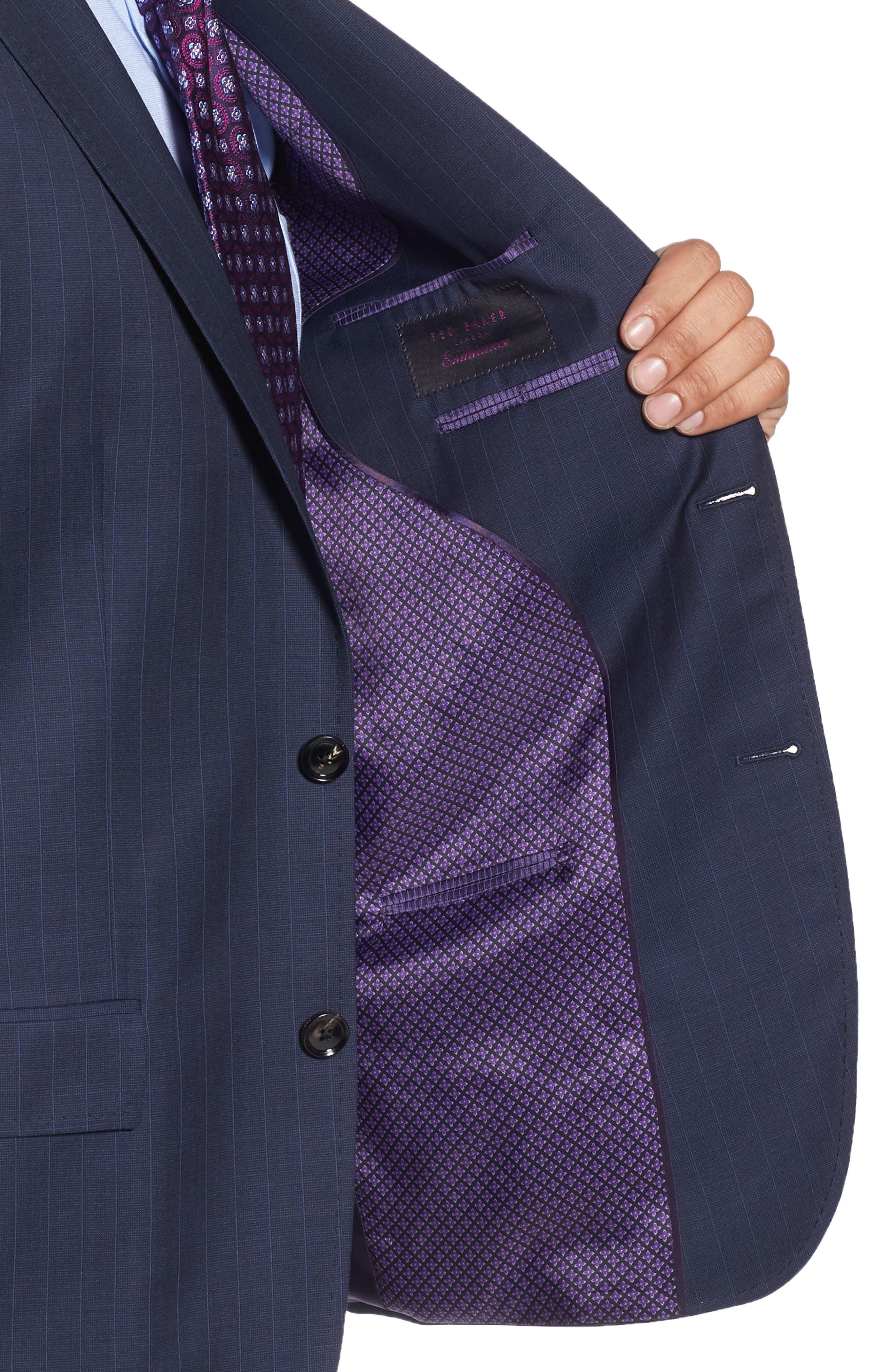 Jay Trim Fit Stripe Wool Suit,                             Alternate thumbnail 4, color,                             400