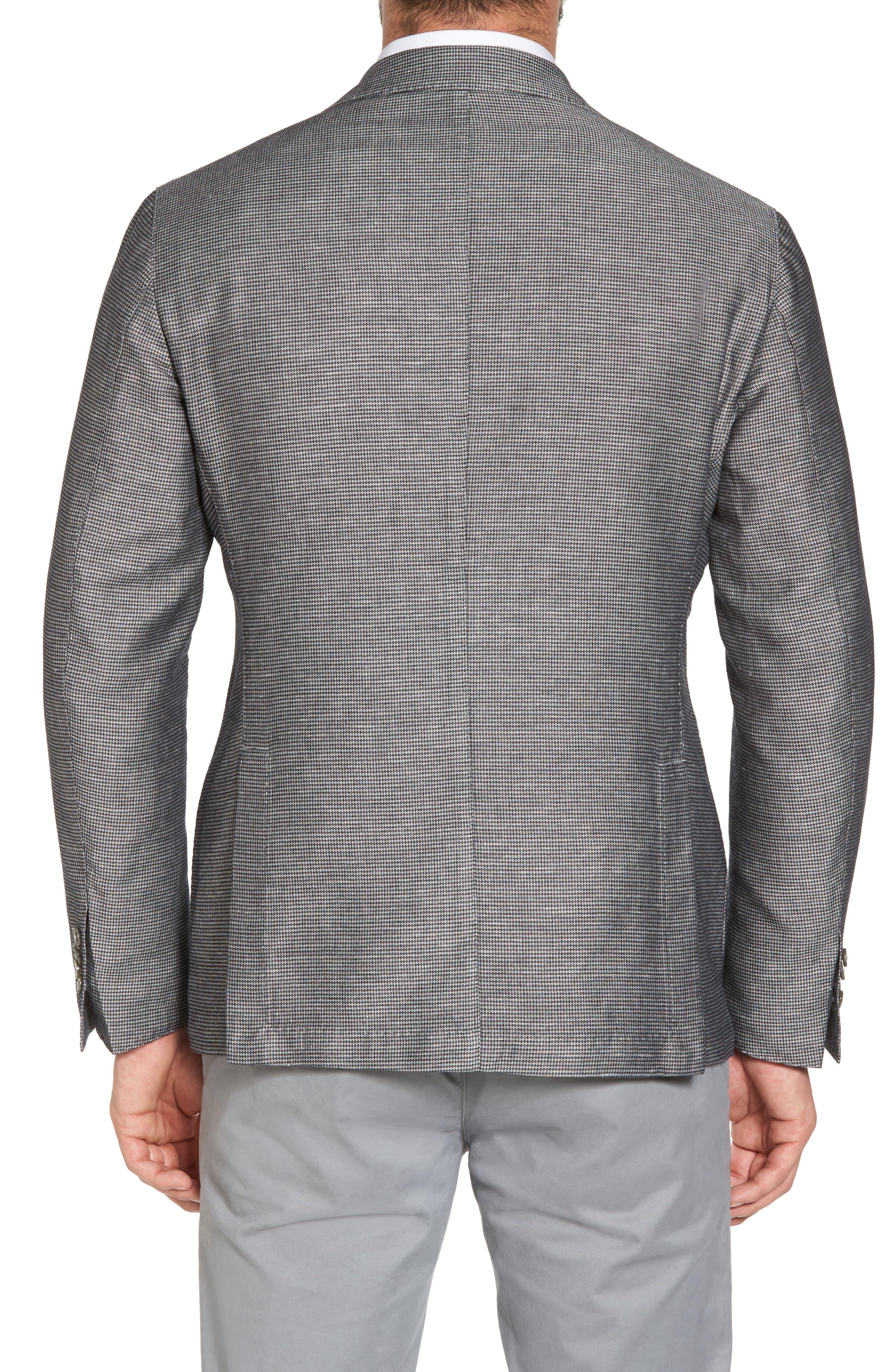 Classic Fit Houndstooth Linen & Cotton Sport Coat,                             Alternate thumbnail 2, color,                             005