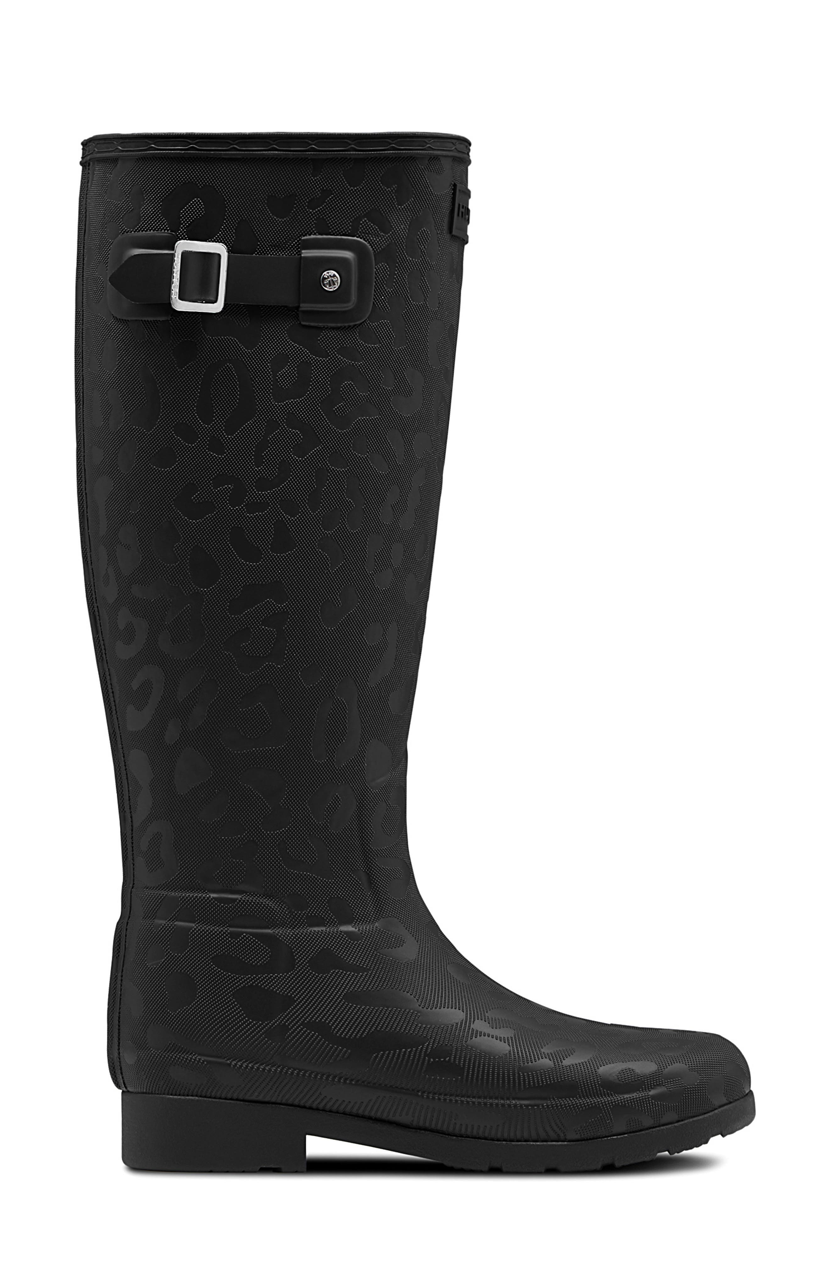 Original Insulated Refined Tall Rain Boot,                             Alternate thumbnail 3, color,                             BLACK