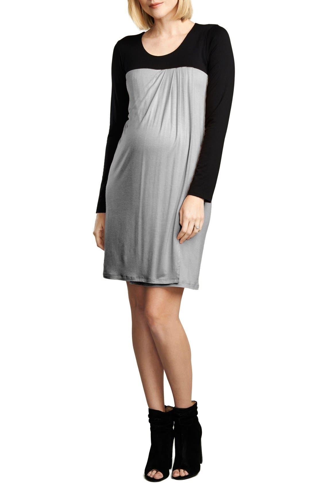 Baby Doll Maternity/Nursing Dress,                         Main,                         color, BLACK/H. GREY