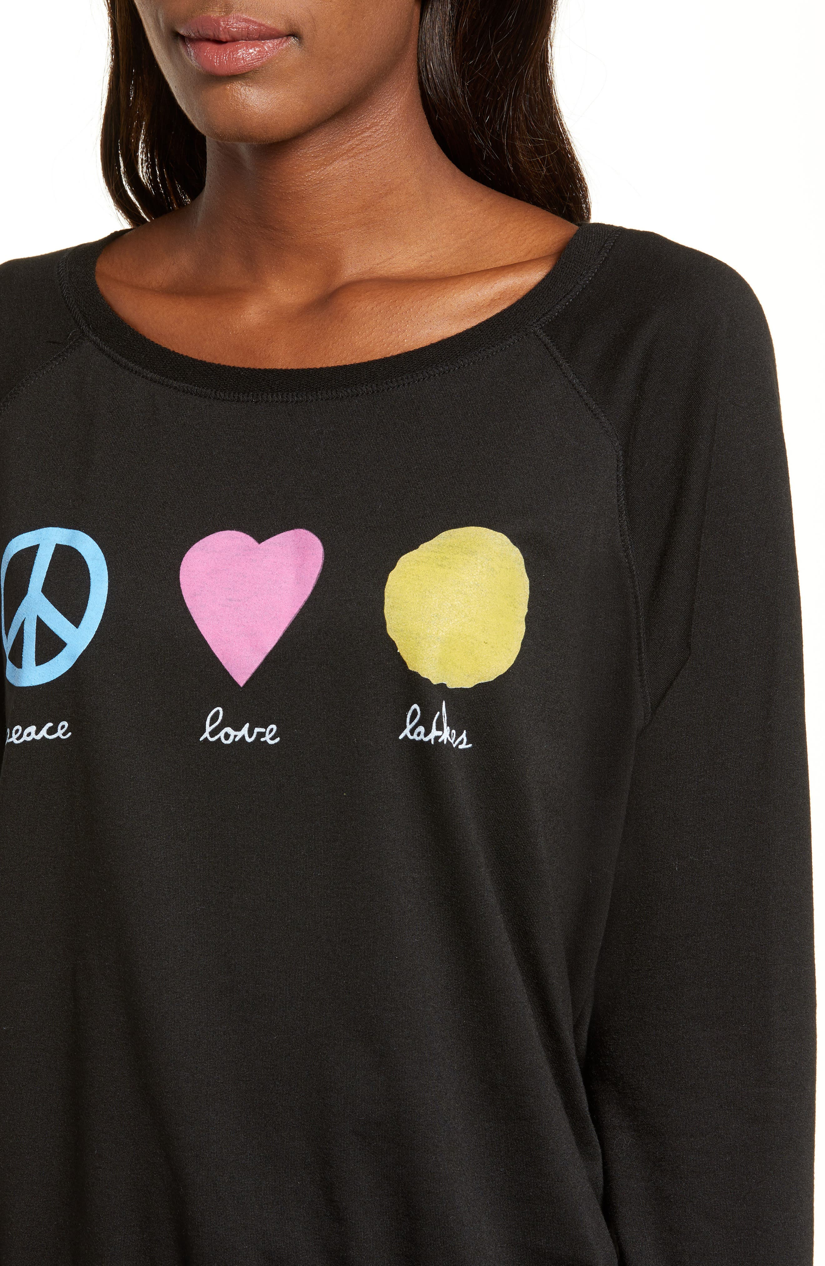Peace Love Latkes Pullover,                             Alternate thumbnail 4, color,                             BLACK