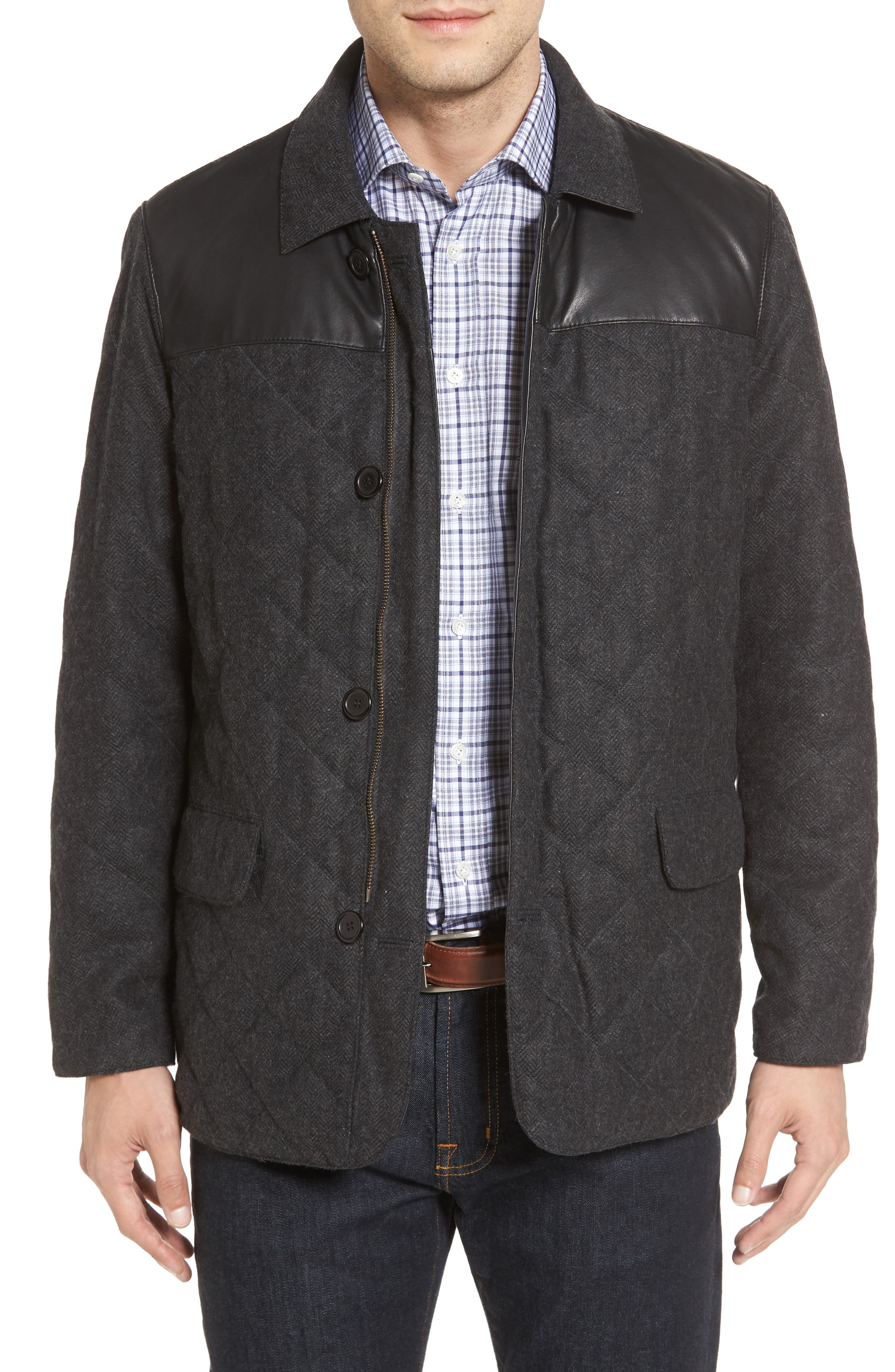 Reversible Lambskin Leather & Quilted Wool Jacket,                             Alternate thumbnail 4, color,