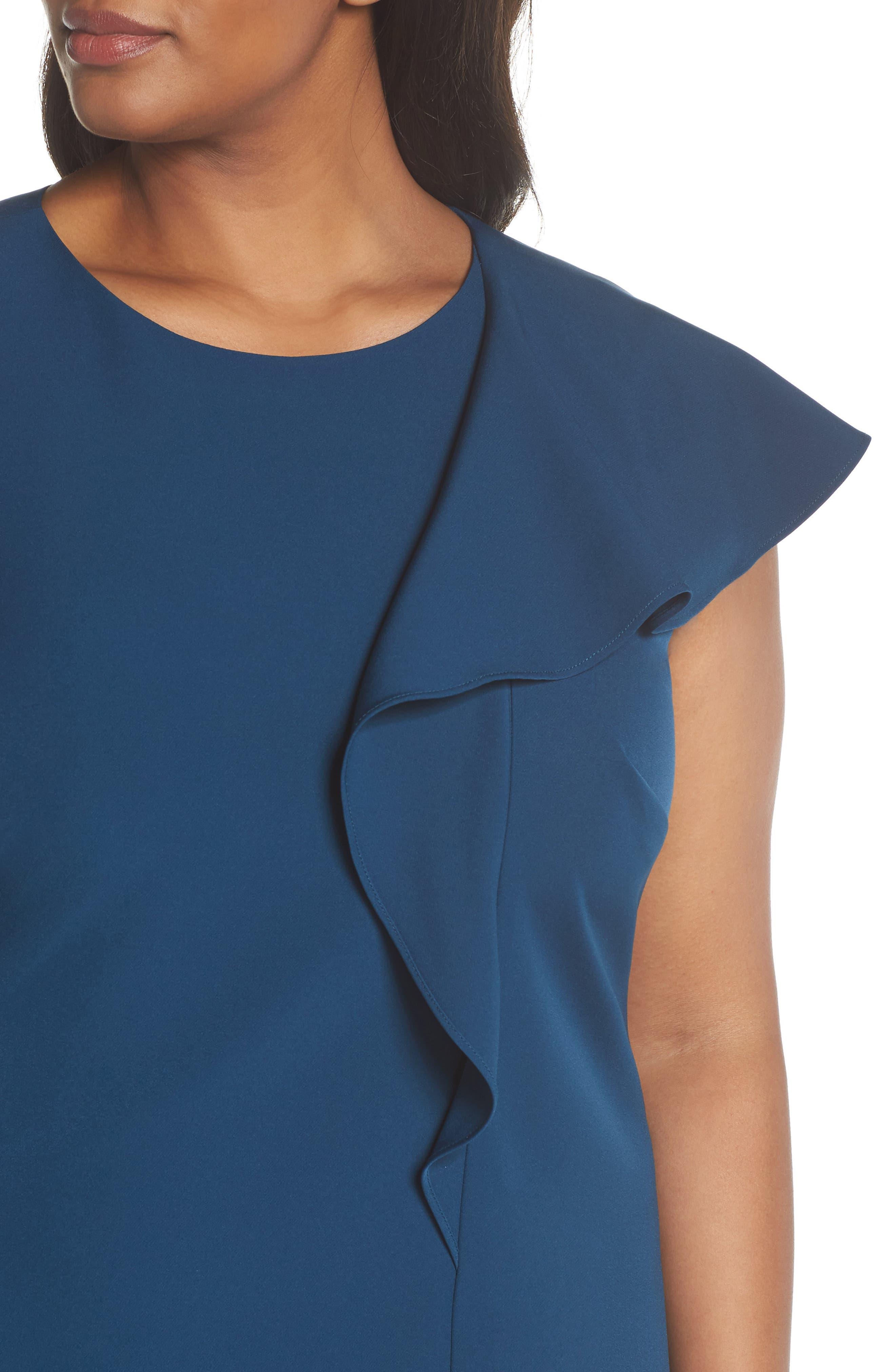 Ruffle Crepe A-Line Dress,                             Alternate thumbnail 4, color,                             400