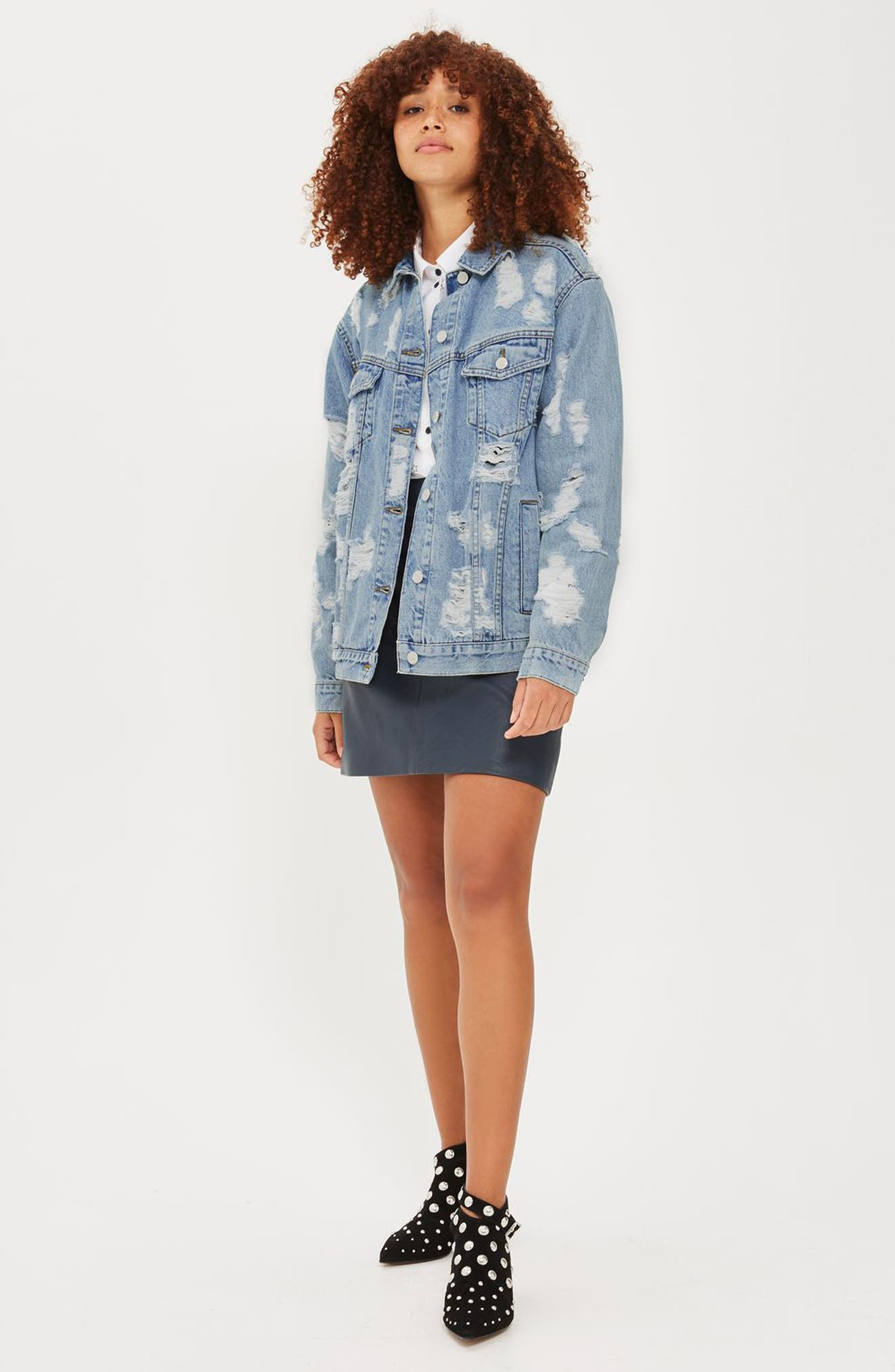 Ripped Denim Jacket,                             Alternate thumbnail 2, color,                             400