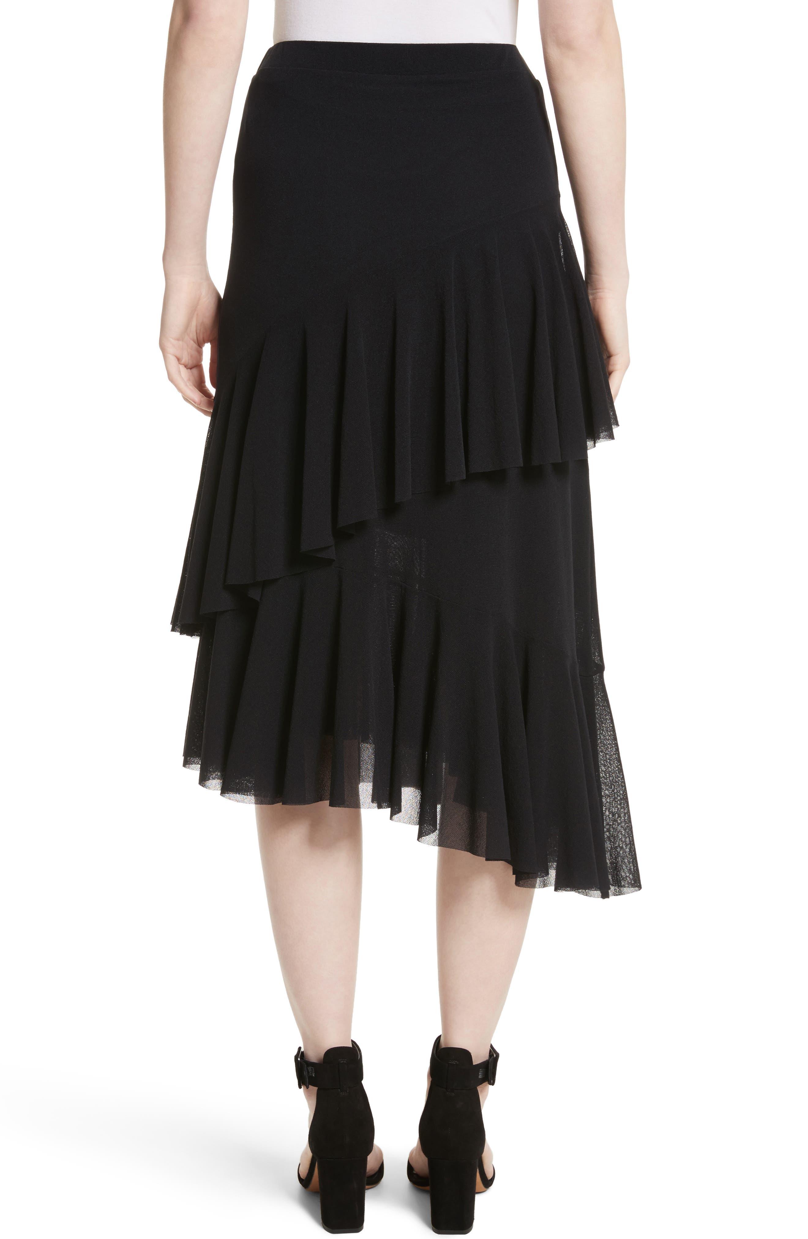 Ruffle Tulle Midi Skirt,                             Alternate thumbnail 2, color,                             NERO