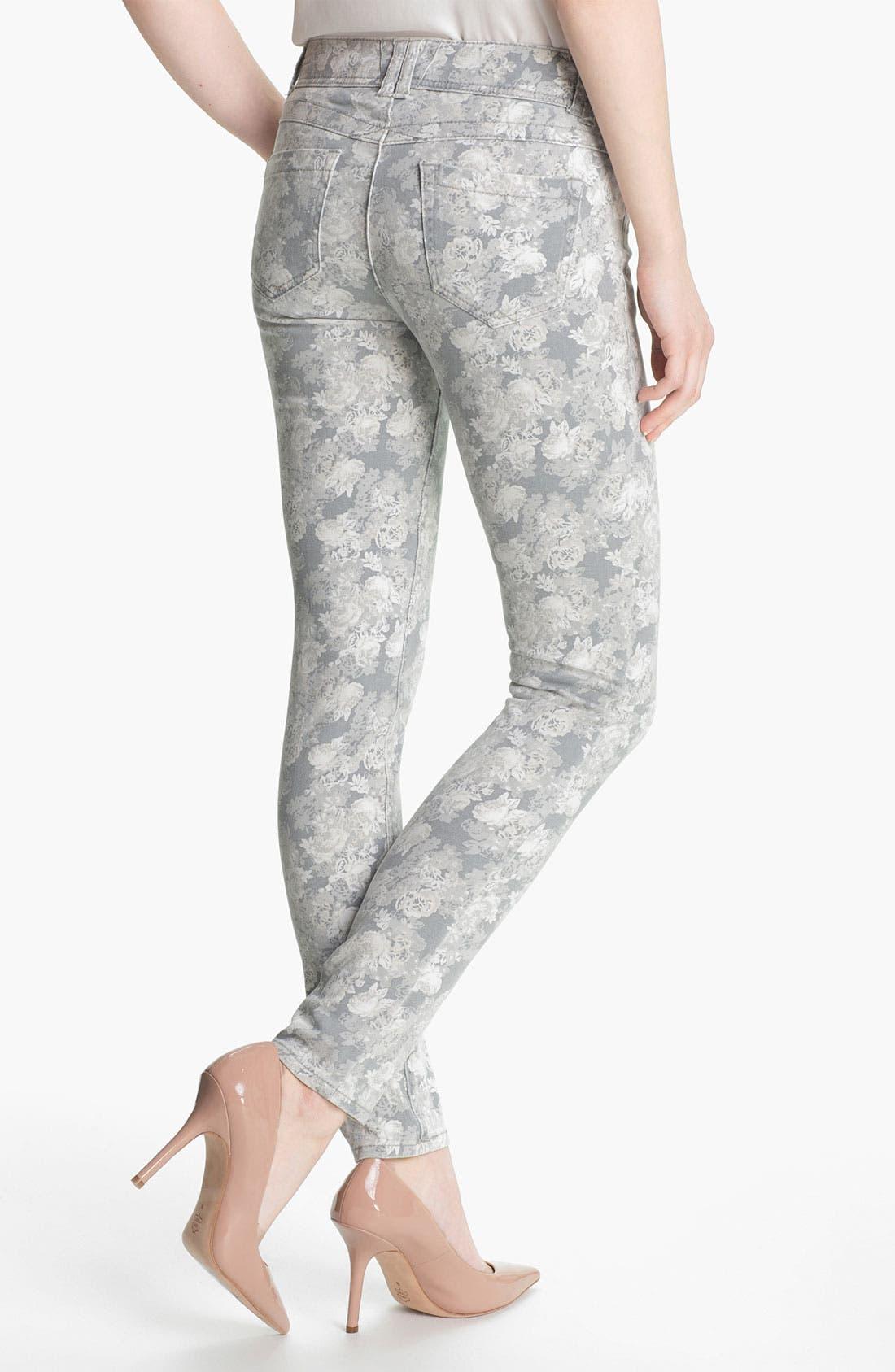Floral Print Skinny Jeans,                             Alternate thumbnail 5, color,
