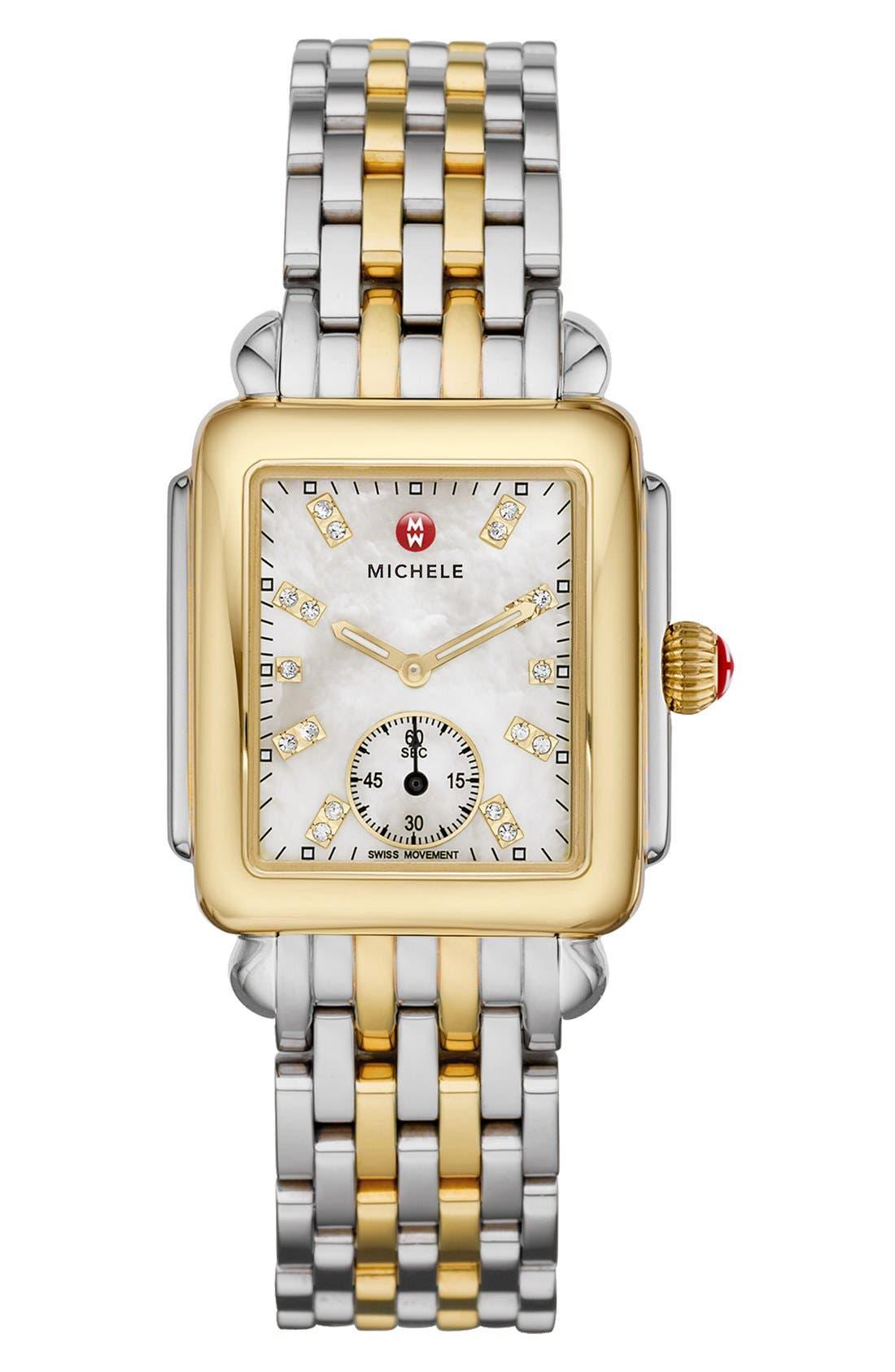 Deco 16 16mm Two-Tone Bracelet Watchband,                             Alternate thumbnail 4, color,                             SILVER/ GOLD