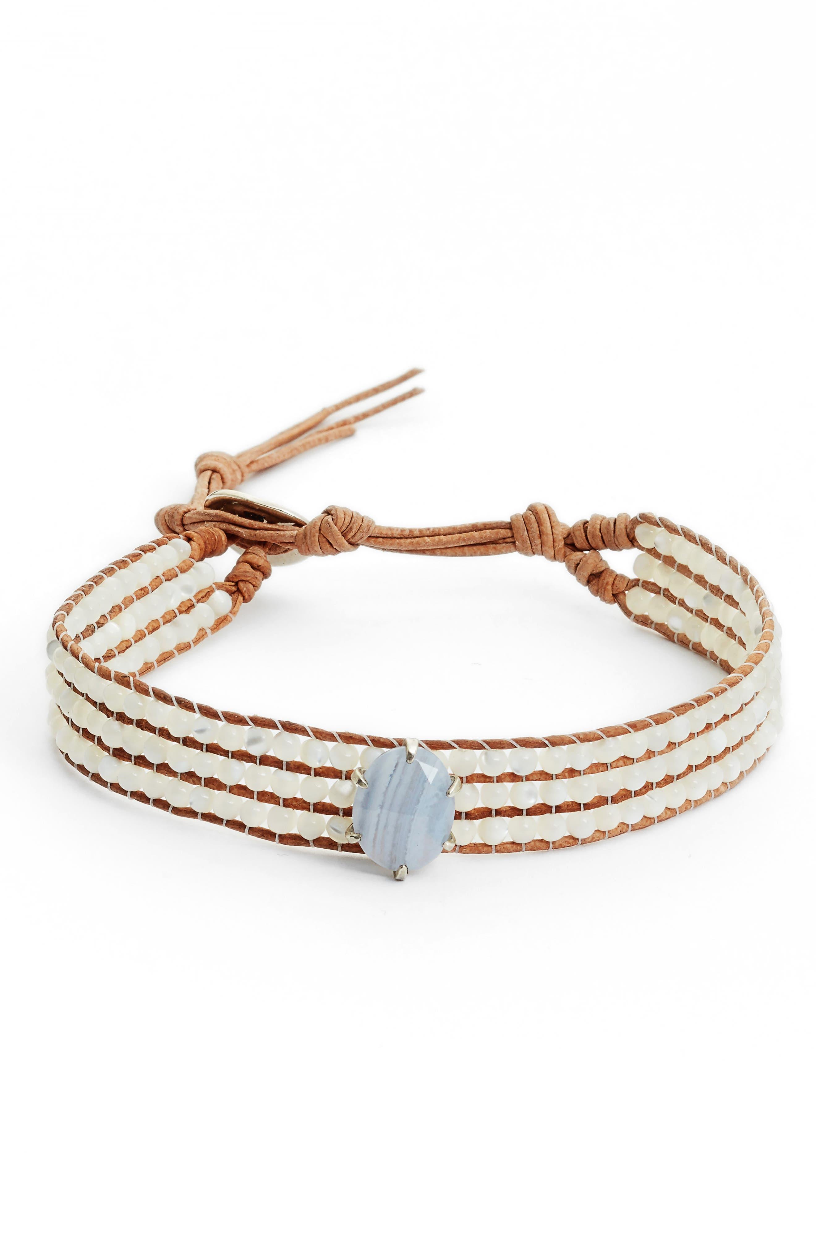 Semiprecious Stone Statement Bracelet,                         Main,                         color, WHITE MOP MIX