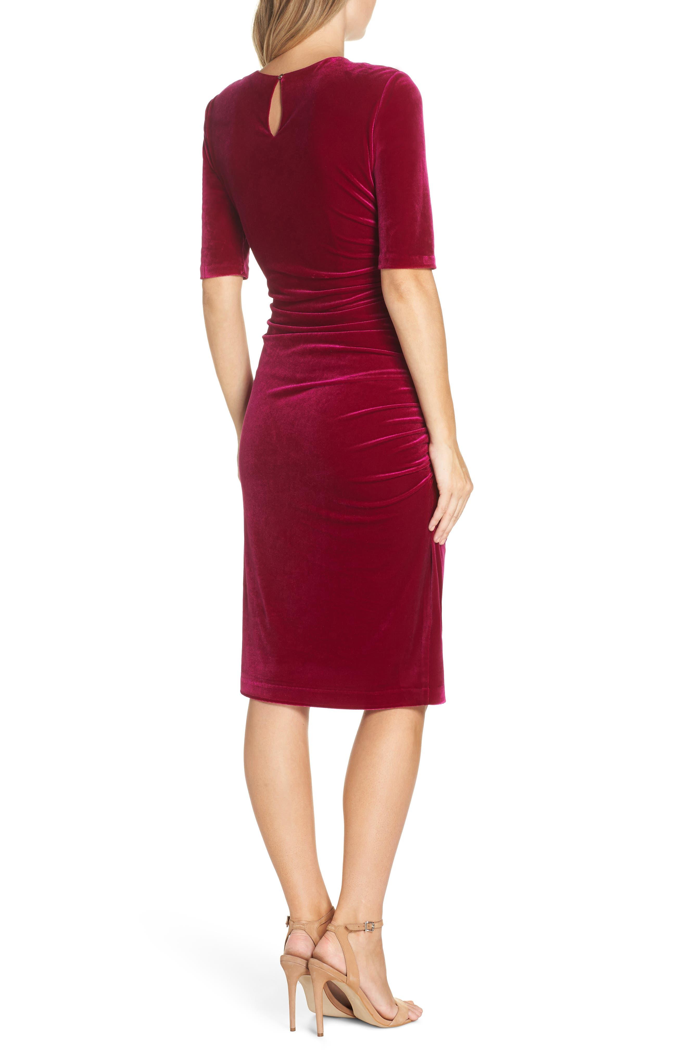 Elbow Sleeve Velvet Sheath Dress,                             Alternate thumbnail 2, color,                             FUSCHIA