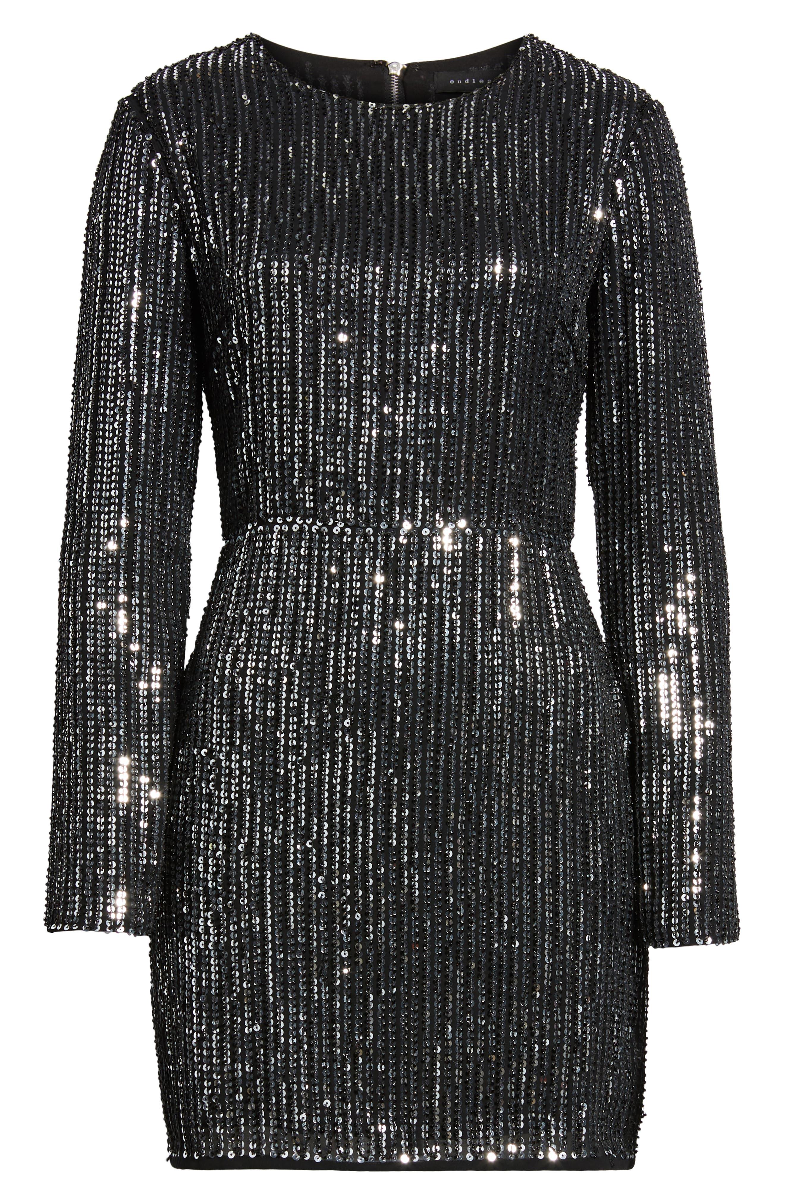 Open Back Sequin Dress,                             Alternate thumbnail 7, color,                             SILVER