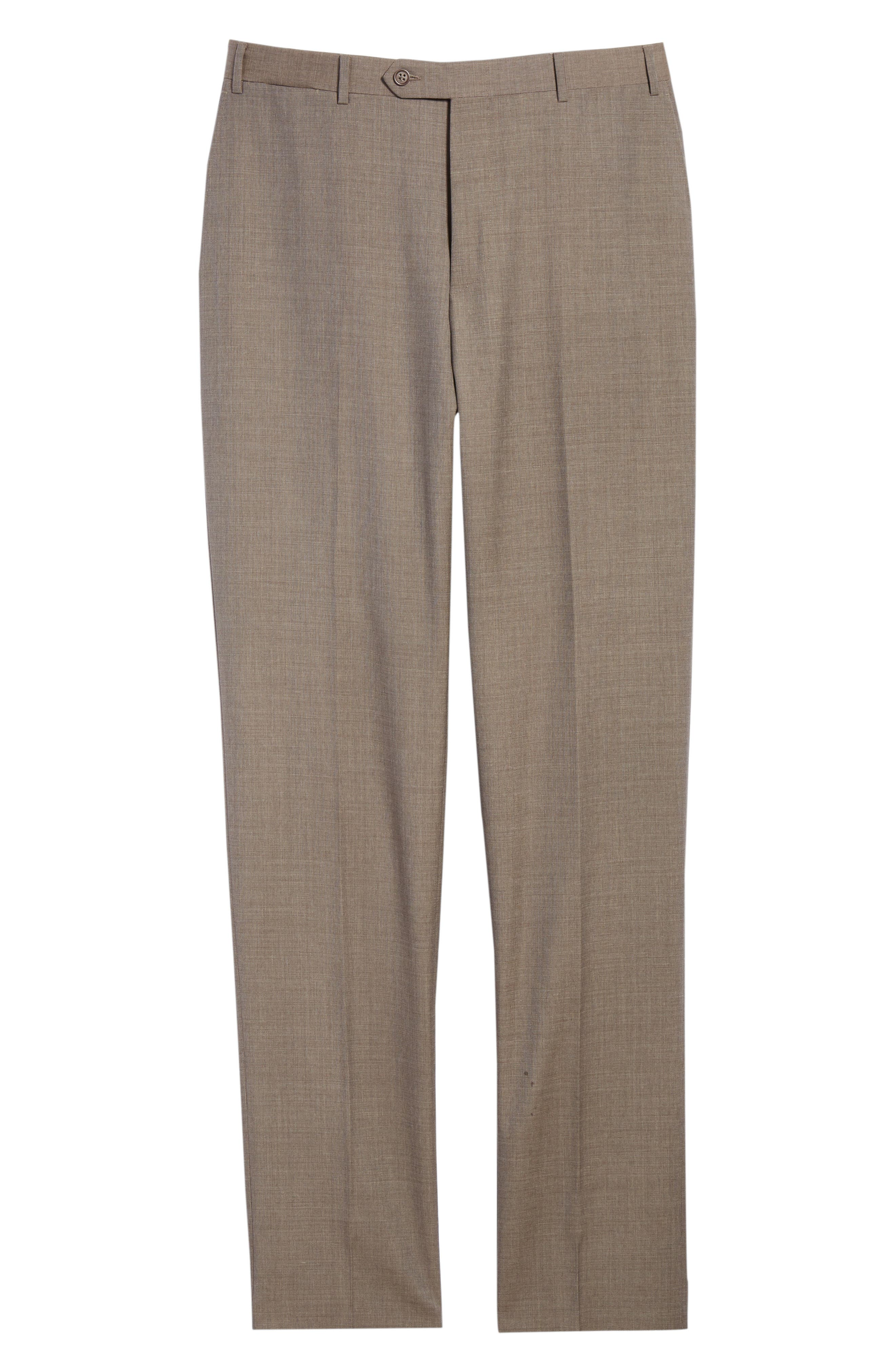 Micro Dot Regular Fit Flat Front Wool Trousers,                             Alternate thumbnail 12, color,