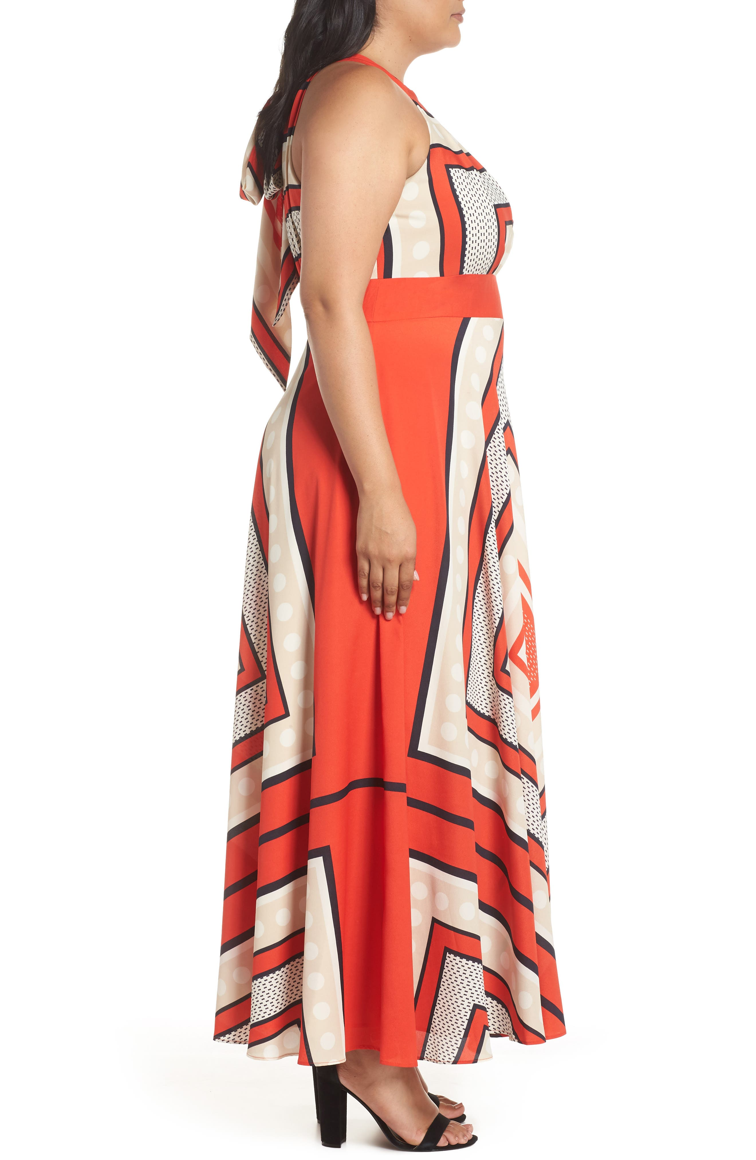 ELIZA J,                             Halter Scarf Print Woven Maxi Dress,                             Alternate thumbnail 3, color,                             PRINT