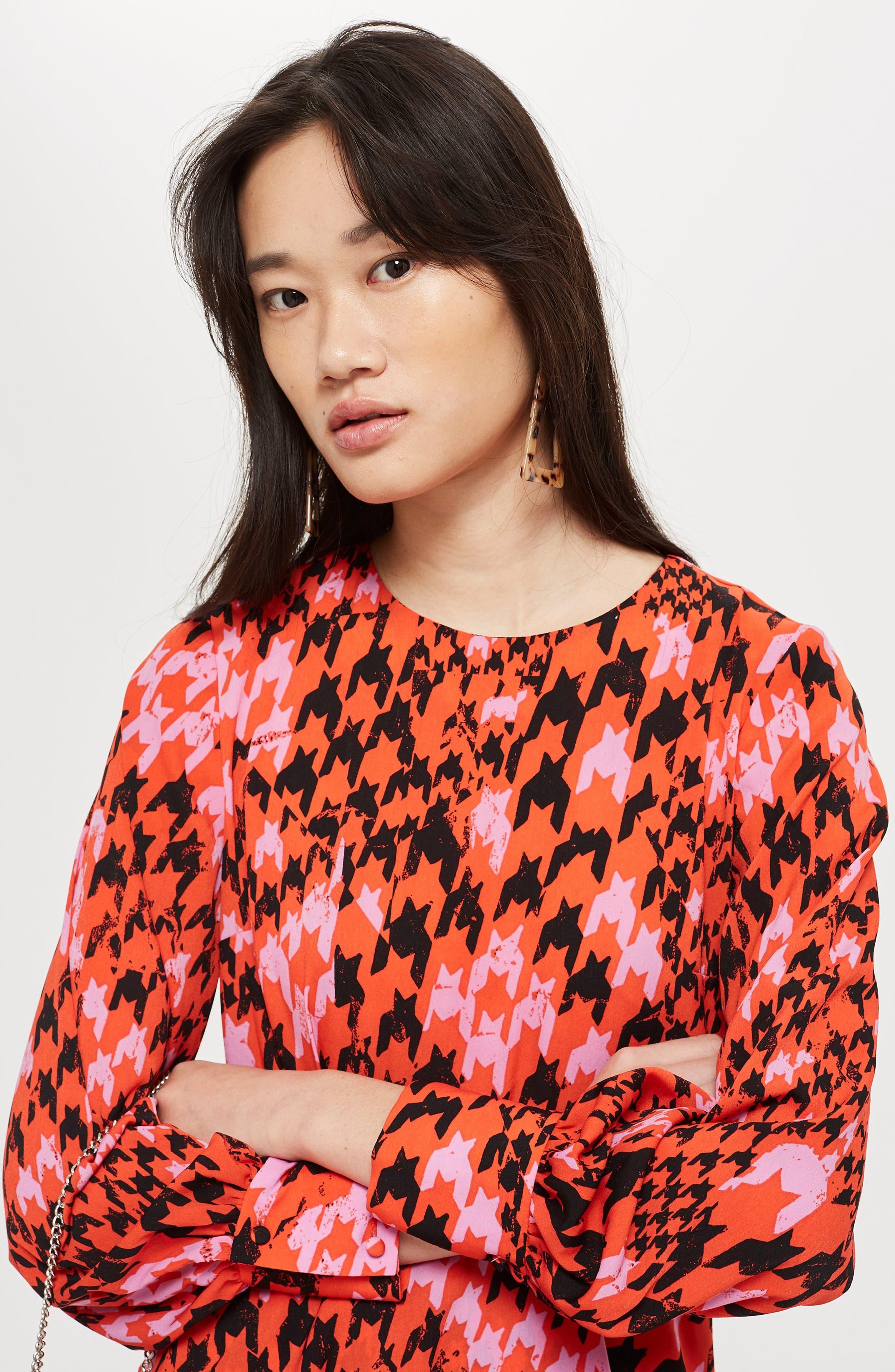 Houndstooth Asymmetrical Sheath Dress,                             Alternate thumbnail 7, color,                             RED MULTI