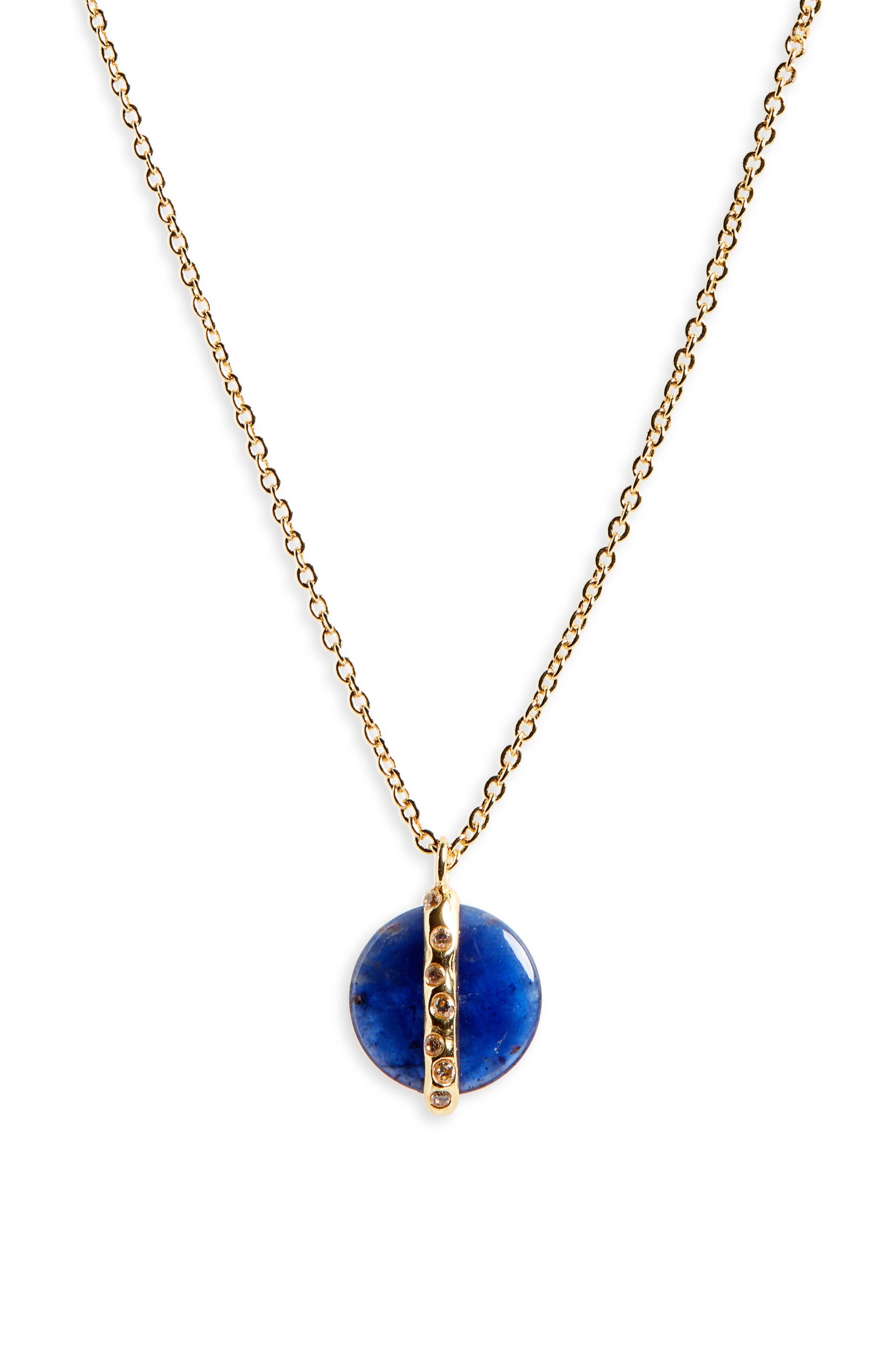 Brinn Shimmer Pendant Necklace,                             Alternate thumbnail 2, color,                             SODALITE/ GOLD