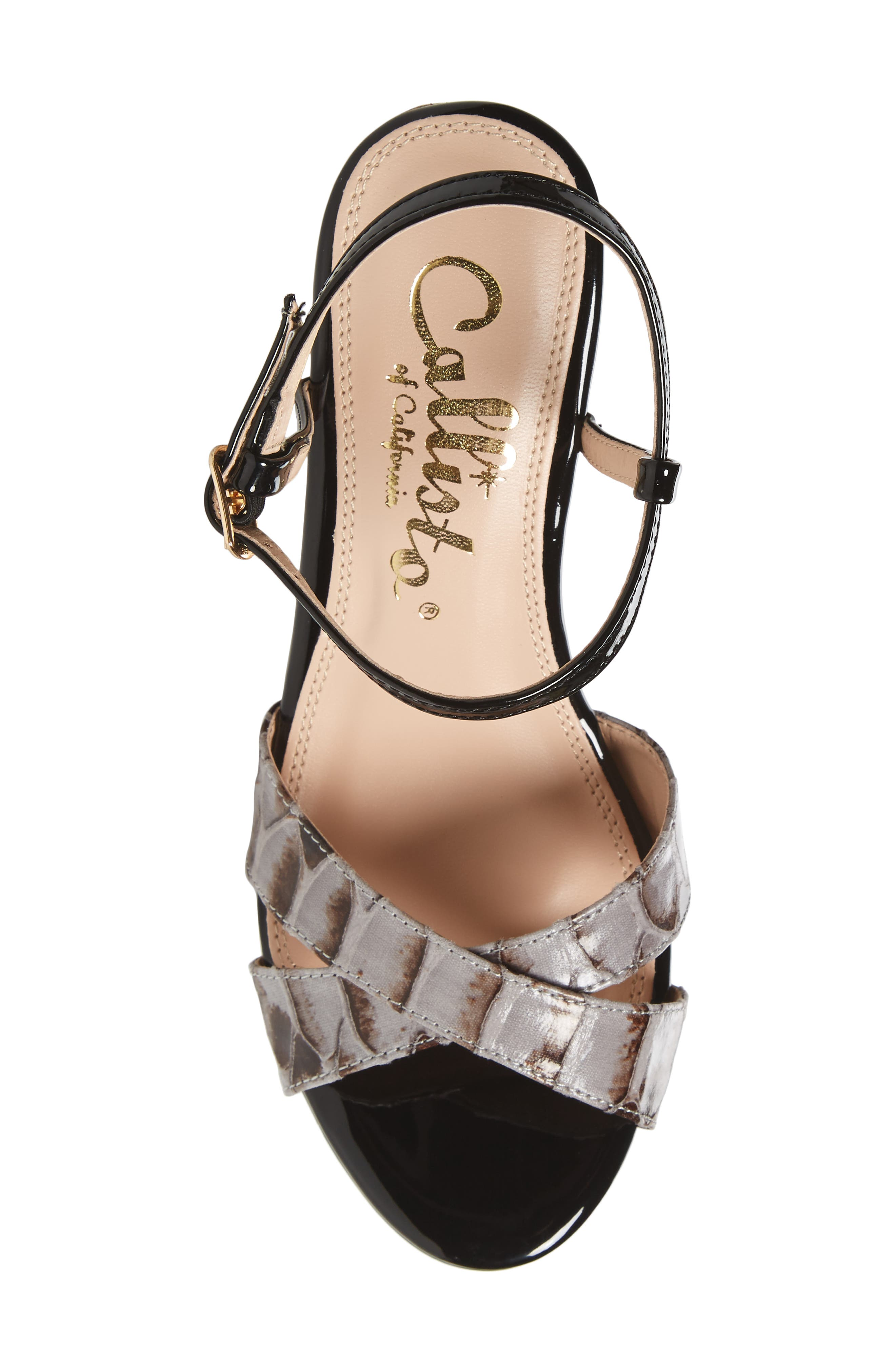 Lottie Platform Wedge Sandal,                             Alternate thumbnail 5, color,                             BLACK SYNTHETIC