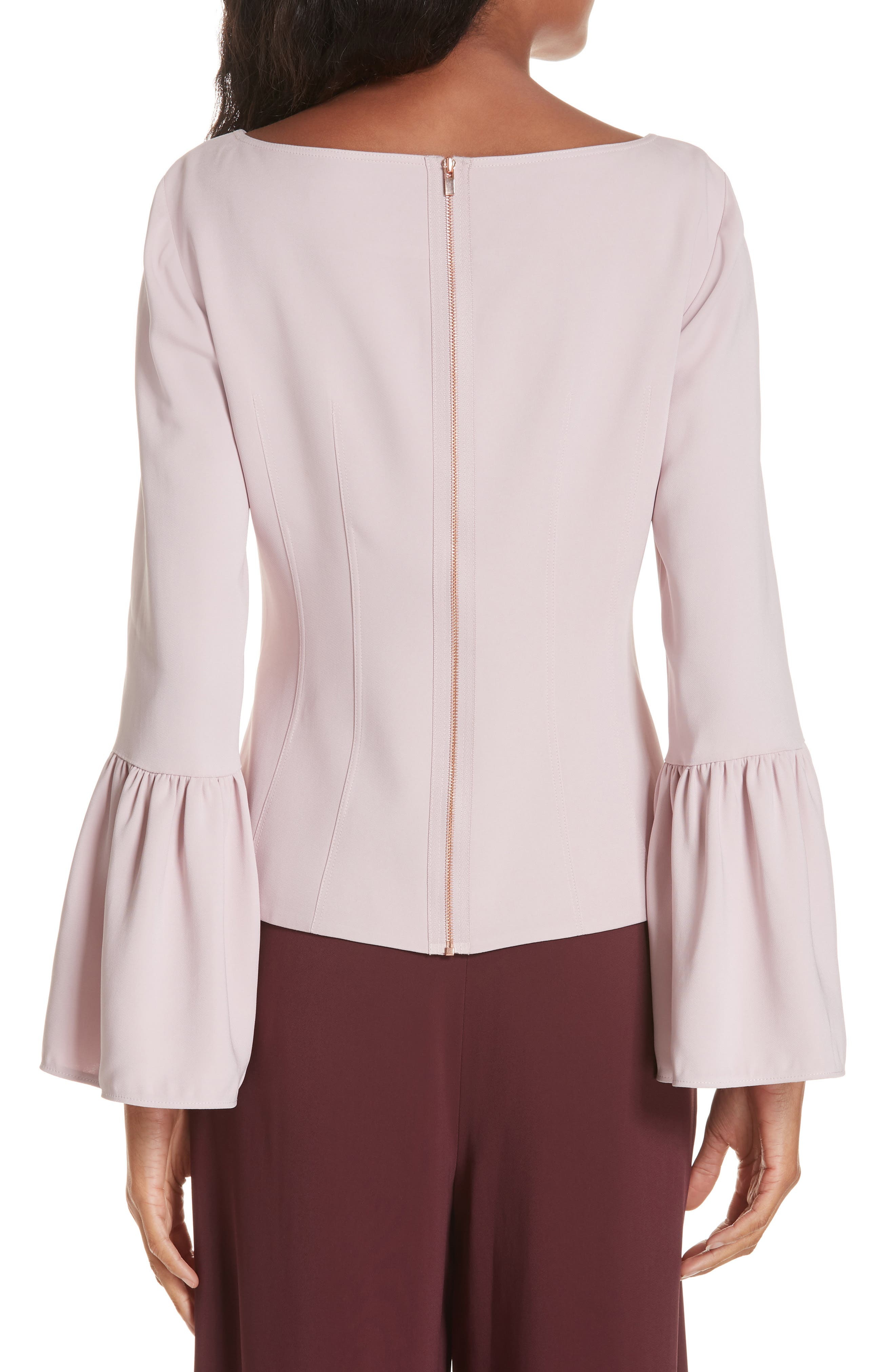 Stretch Suiting Bell Sleeve Top,                             Alternate thumbnail 2, color,                             PINK LILAC