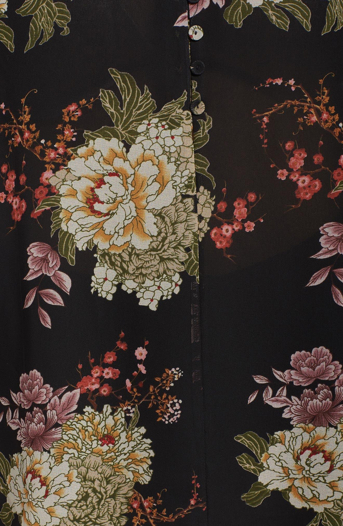 Floral Georgette Split Neck Blouse,                             Alternate thumbnail 5, color,