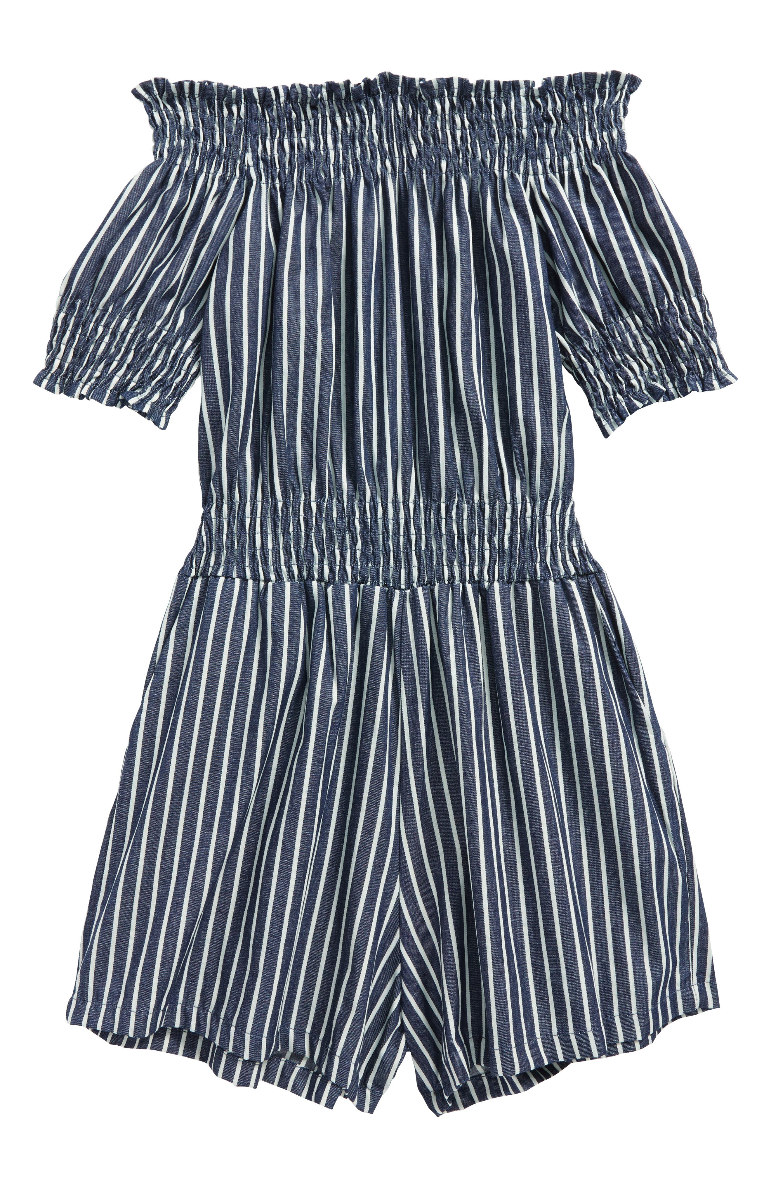 Stripe Off the Shoulder Romper,                             Main thumbnail 1, color,                             410