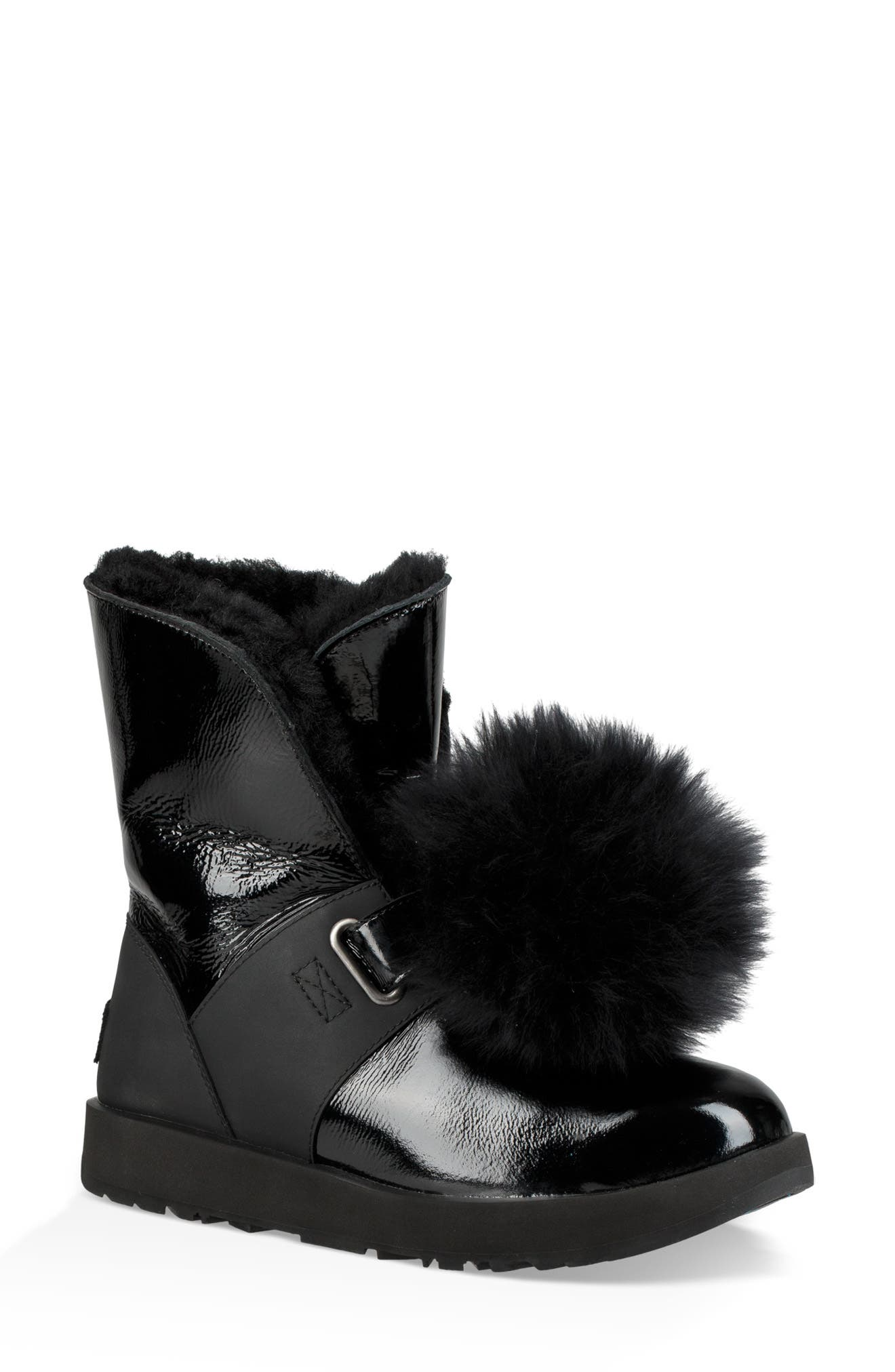 Isley Genuine Shearling Waterproof Patent Pom Bootie,                             Main thumbnail 1, color,                             BLACK